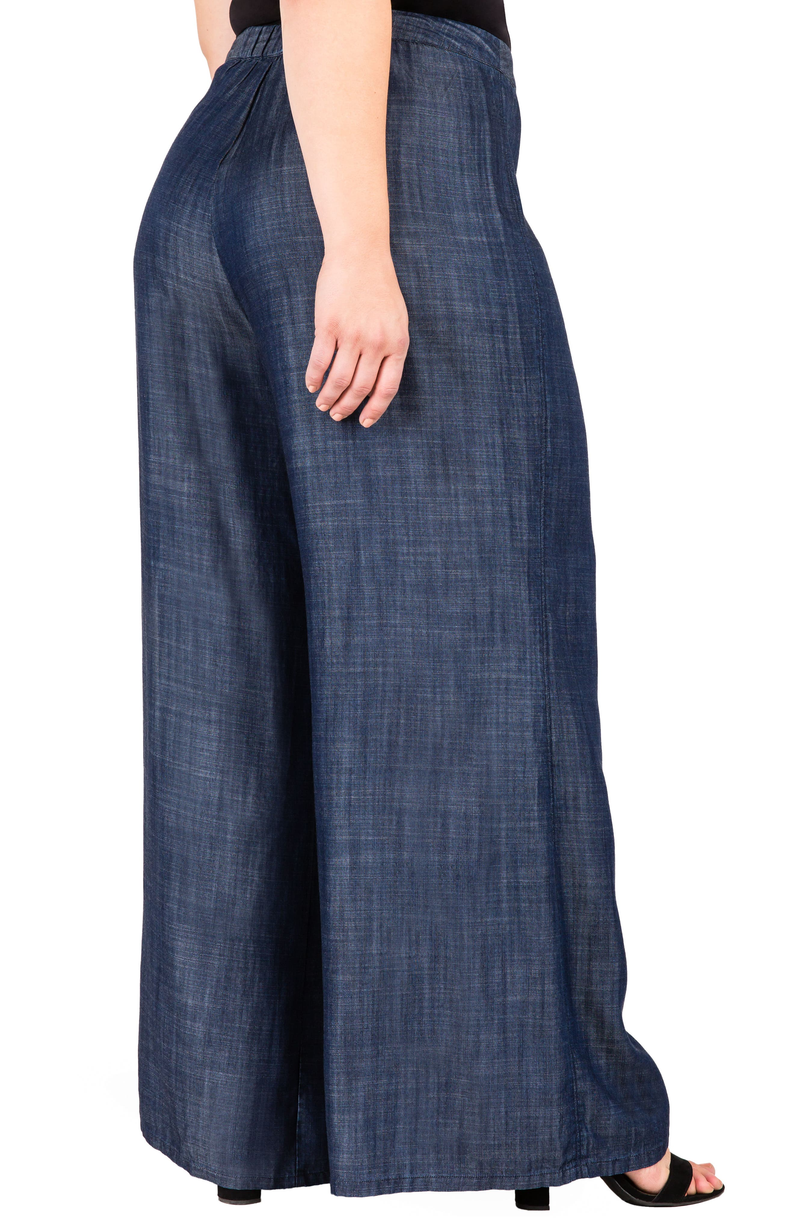 Olga Wide Leg Denim Pants,                             Alternate thumbnail 5, color,                             INDIGO