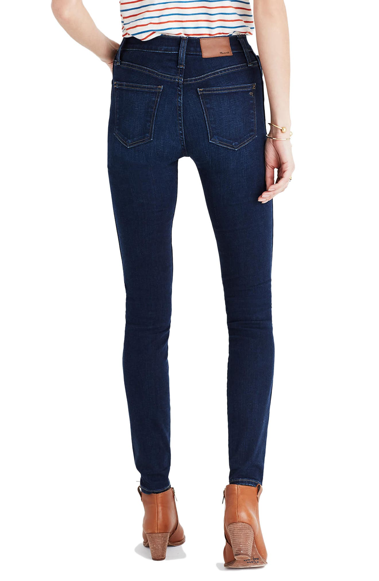 MADEWELL,                             10-Inch High Rise Skinny Jeans,                             Alternate thumbnail 4, color,                             HAYES WASH