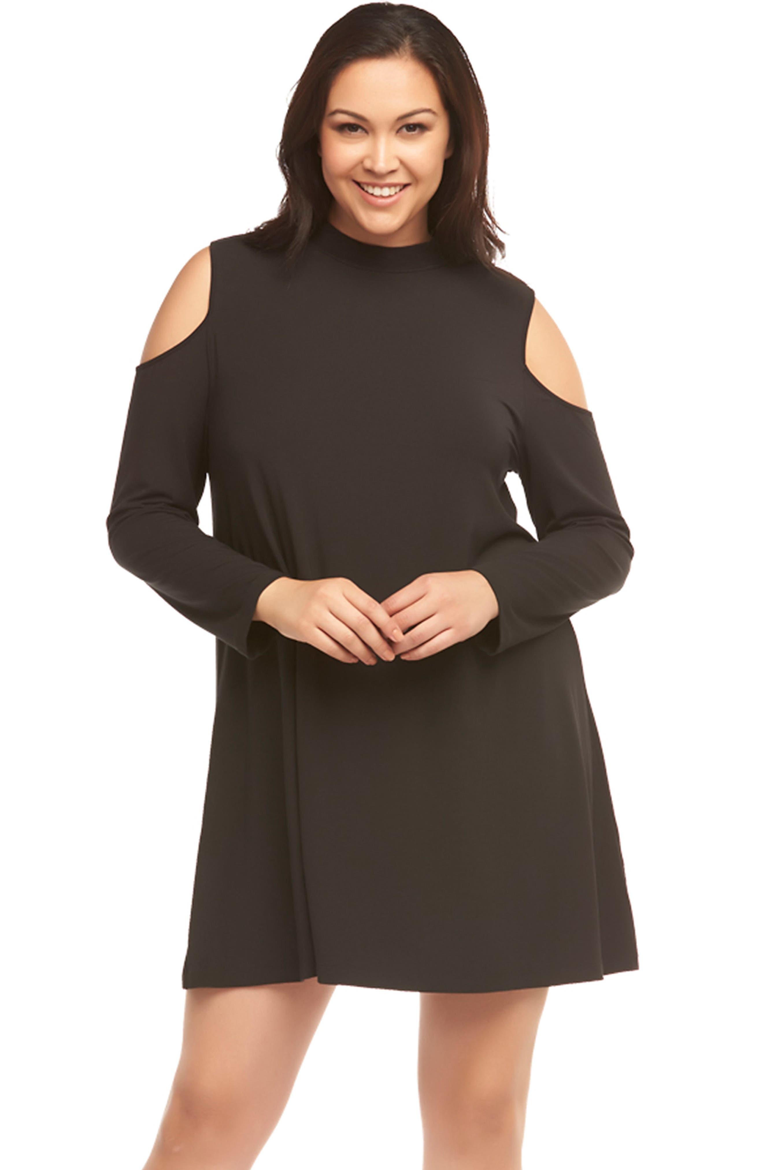 Kailey Cold Shoulder Trapeze Dress,                             Alternate thumbnail 5, color,                             BLACK