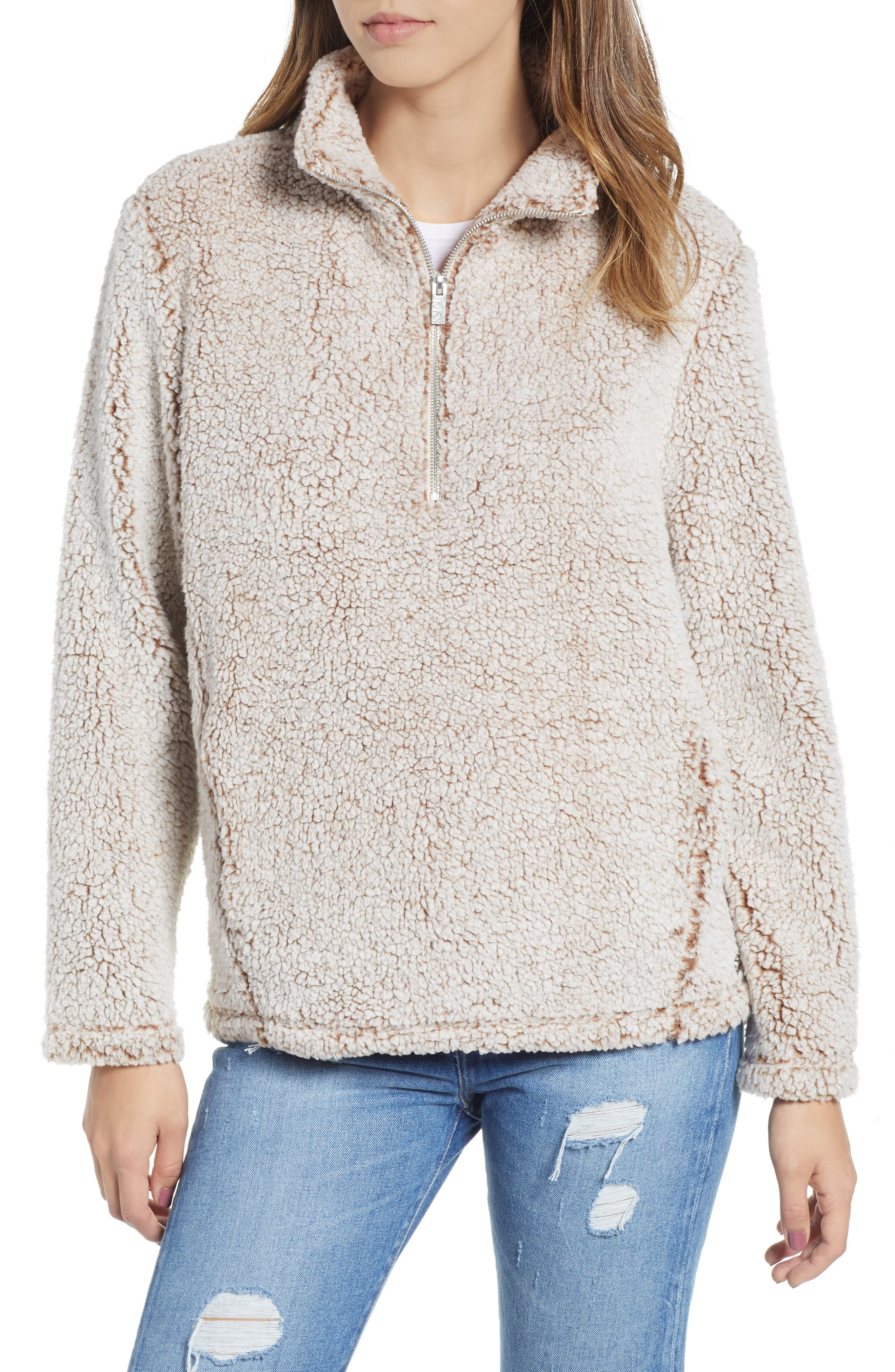 Teddy Faux Shearling Quarter Zip Jacket, Main, color, BROWN