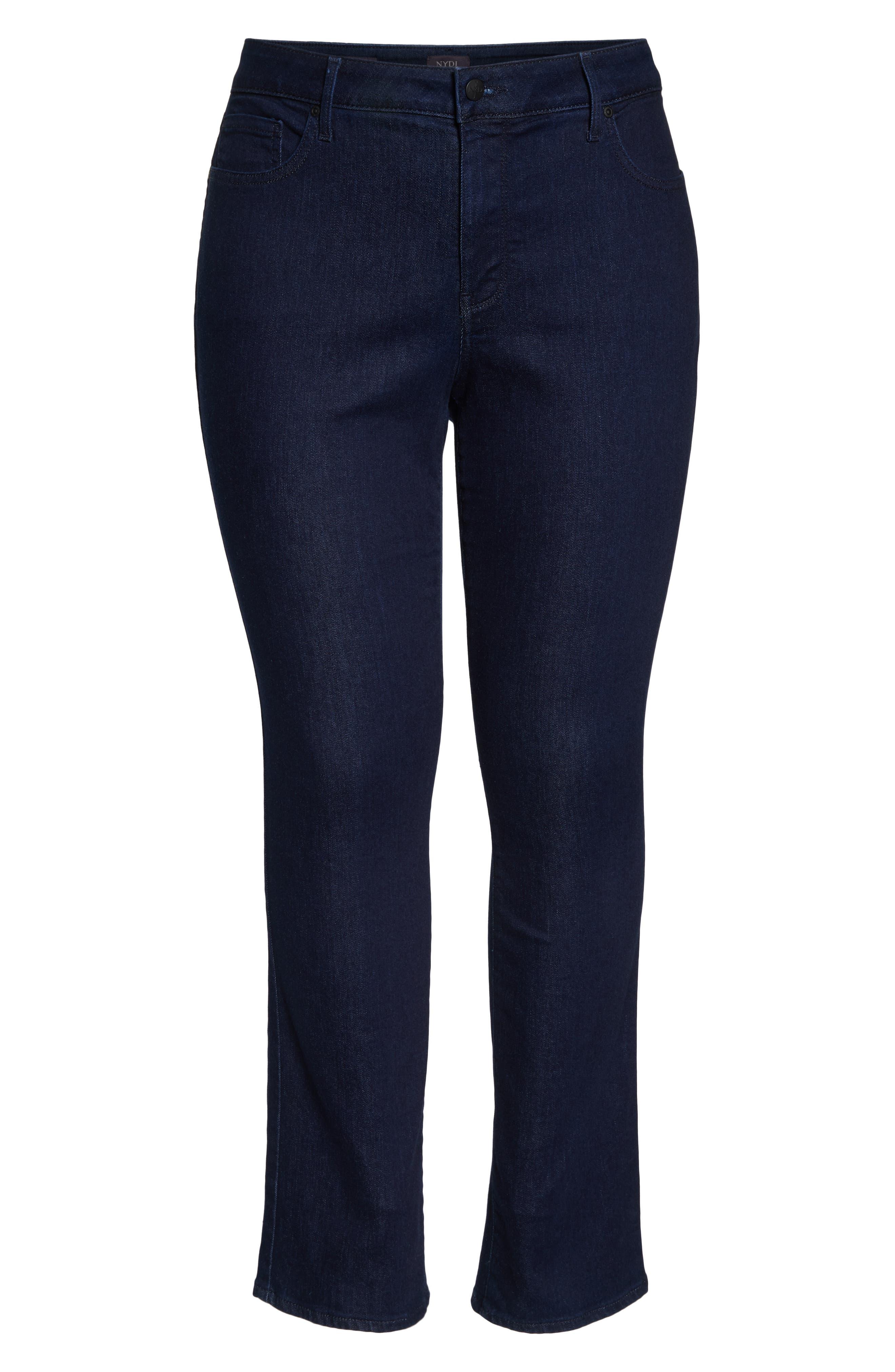 Marilyn High Rise Straight Leg Jeans,                             Alternate thumbnail 7, color,                             RINSE TONAL STITCH