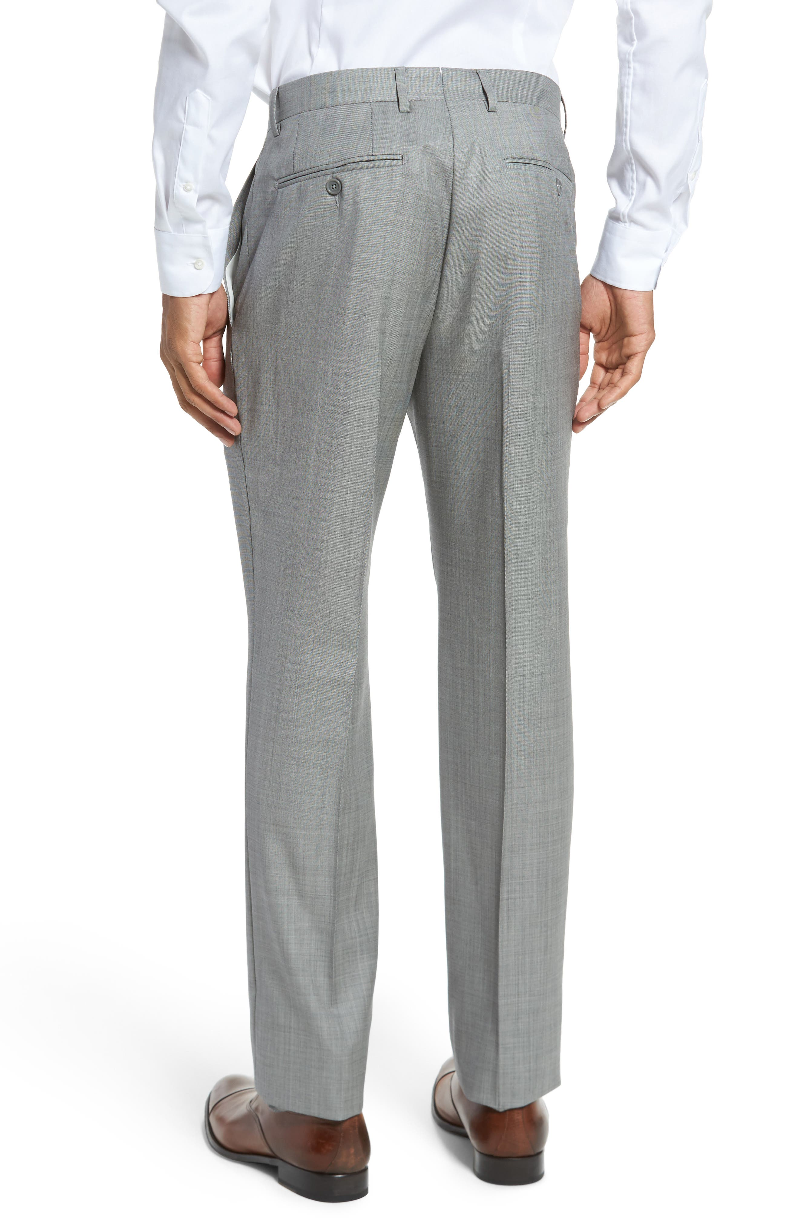 Flat Front Solid Wool Trousers,                             Alternate thumbnail 3, color,                             076