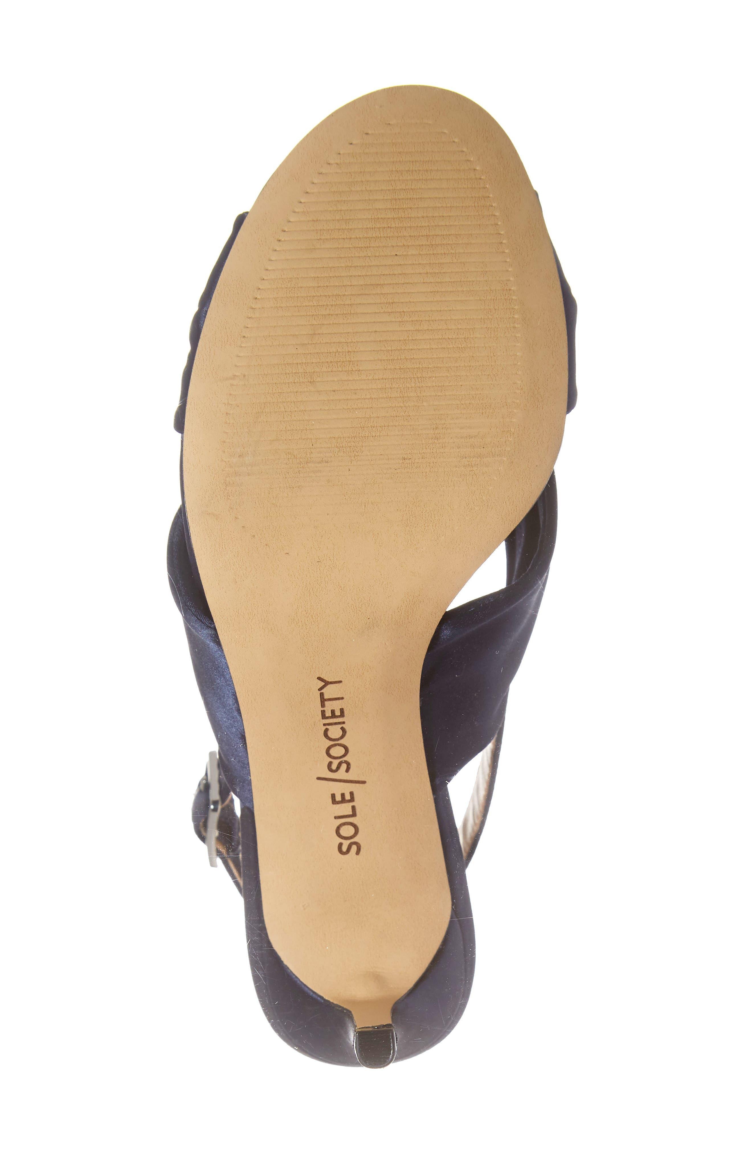 Genneene Knotted Slingback Sandal,                             Alternate thumbnail 6, color,                             MIDNIGHT SATIN