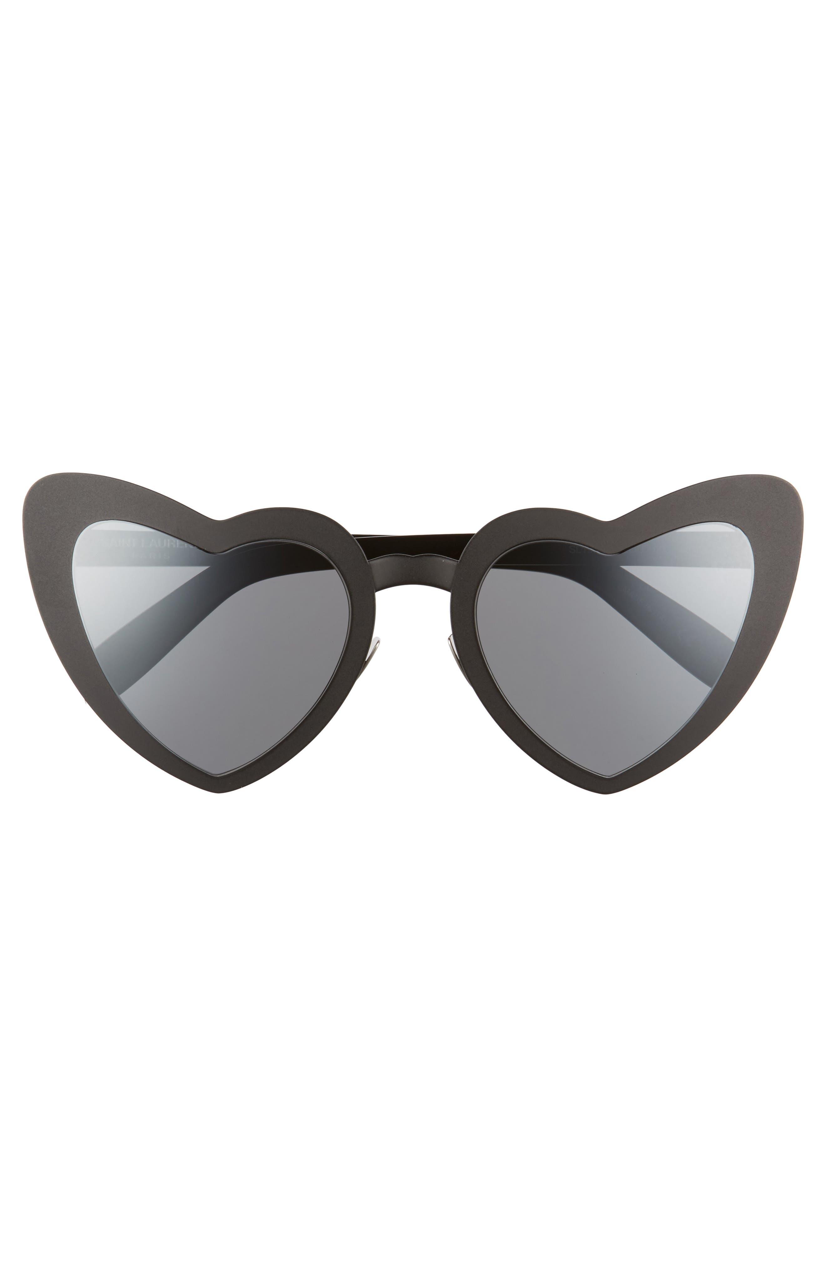 Loulou 55mm Heart Shaped Sunglasses,                             Alternate thumbnail 3, color,                             BLACK