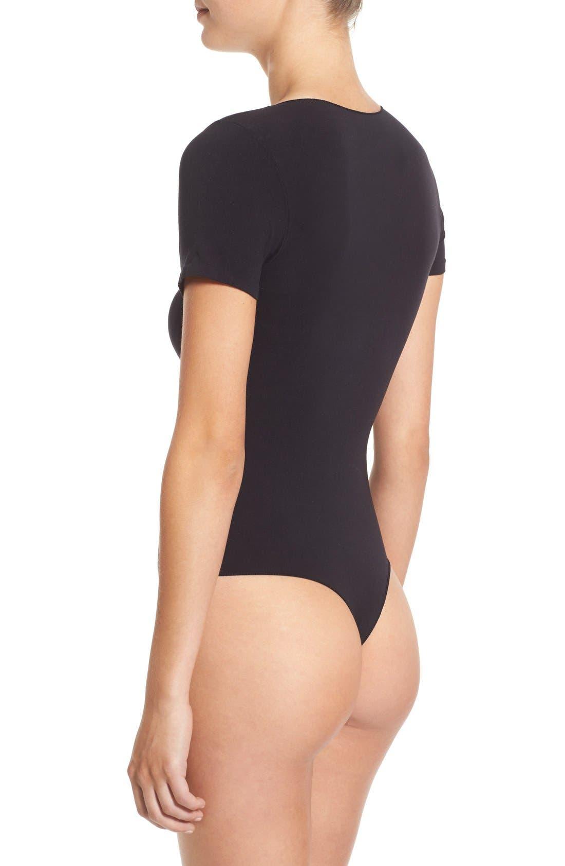 'Ballet Body' Short Sleeve Thong Bodysuit,                             Alternate thumbnail 4, color,                             BLACK