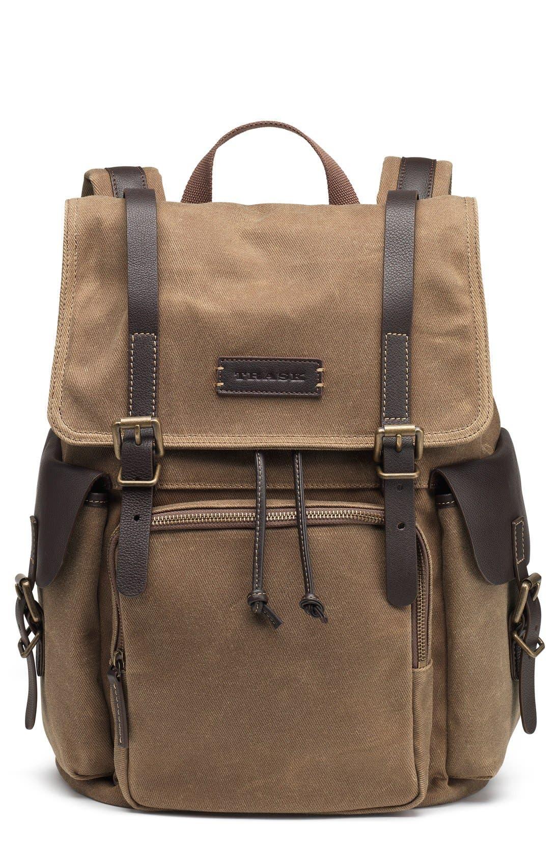 'Bridger' Waxed Canvas Backpack,                             Main thumbnail 1, color,                             RANGER TAN