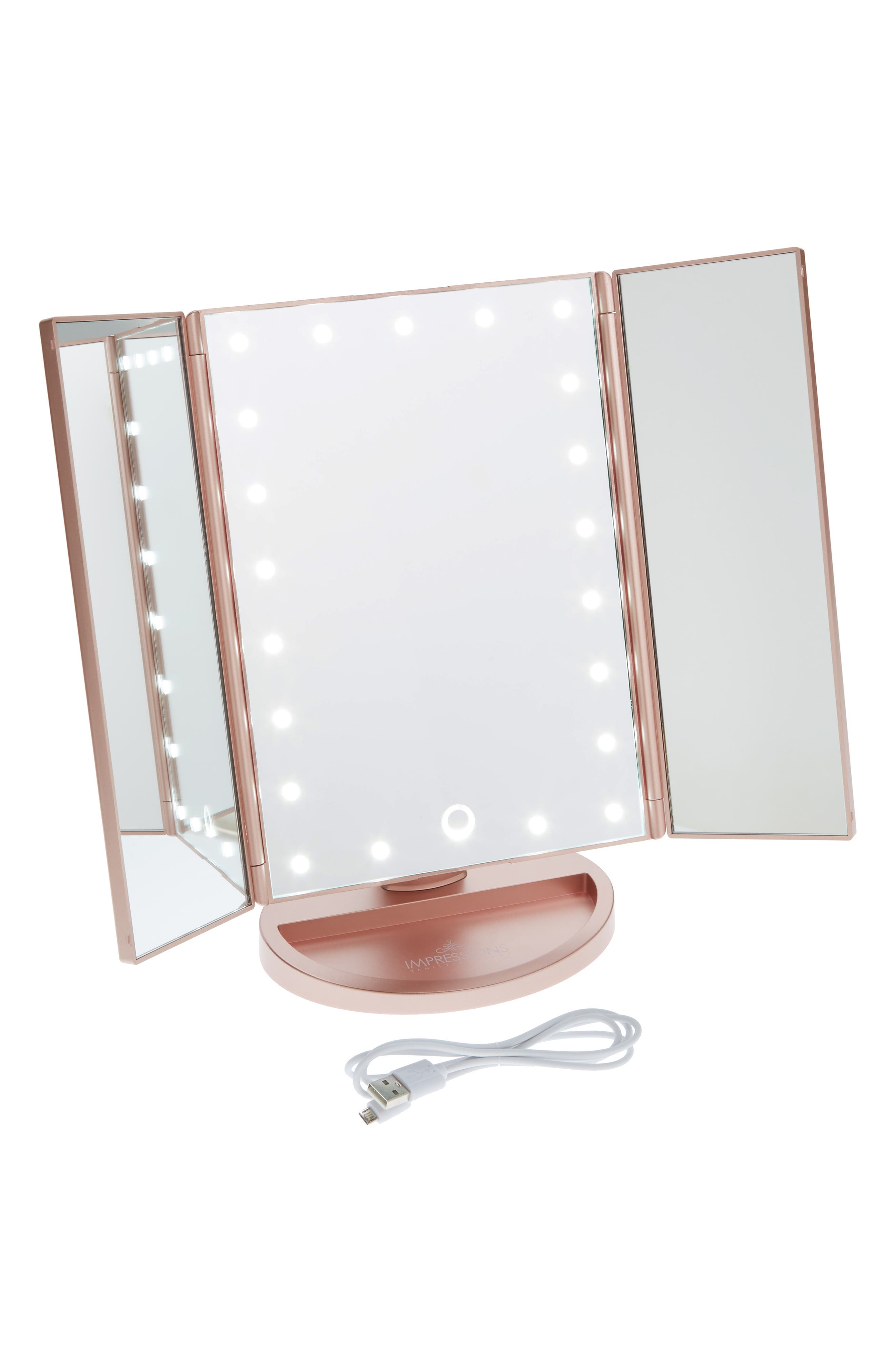 Touch 3.0 LED Trifold Makeup Mirror,                             Main thumbnail 3, color,