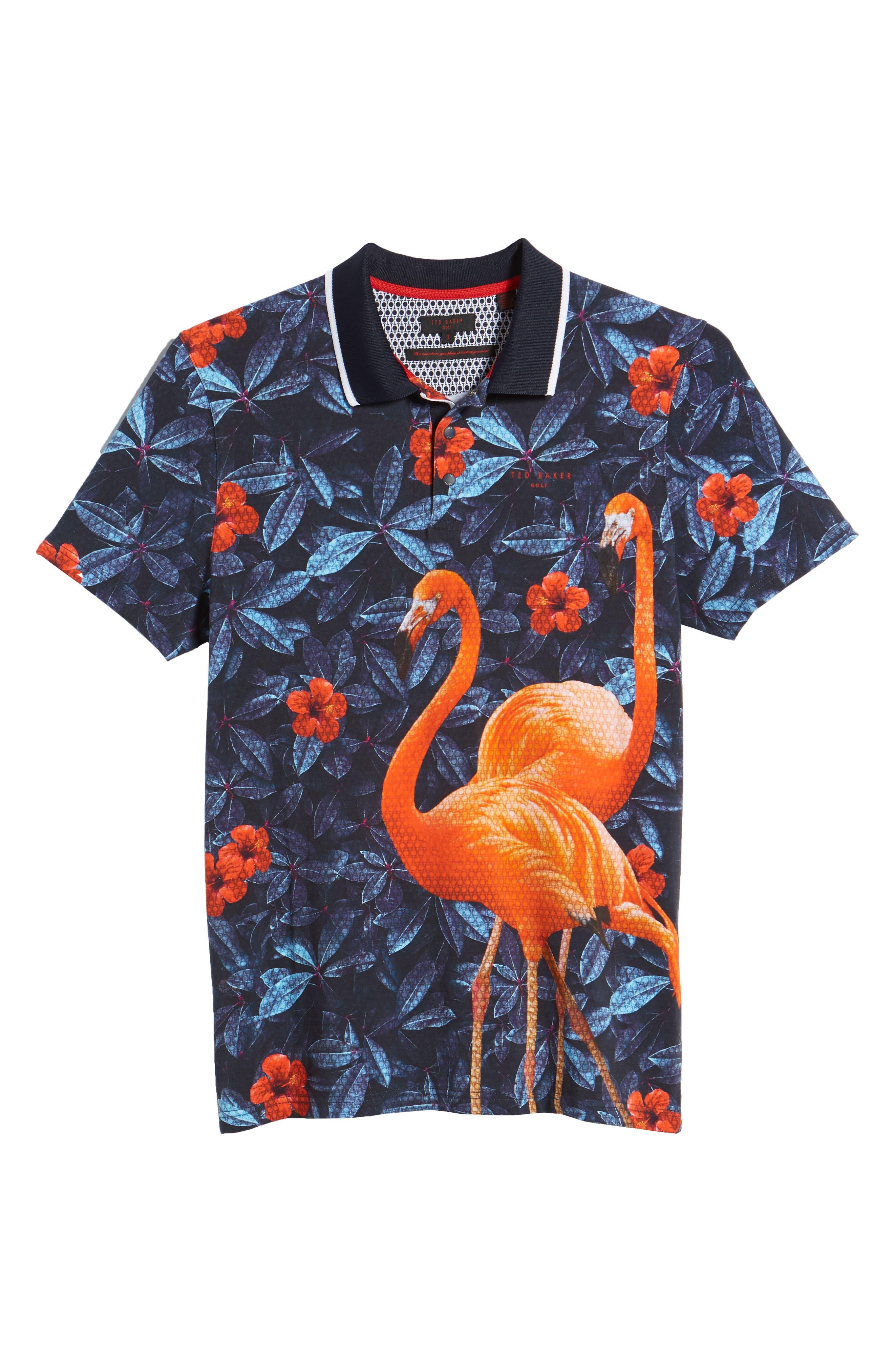 Ballgo Flamingo Print Polo Shirt,                             Alternate thumbnail 6, color,                             402