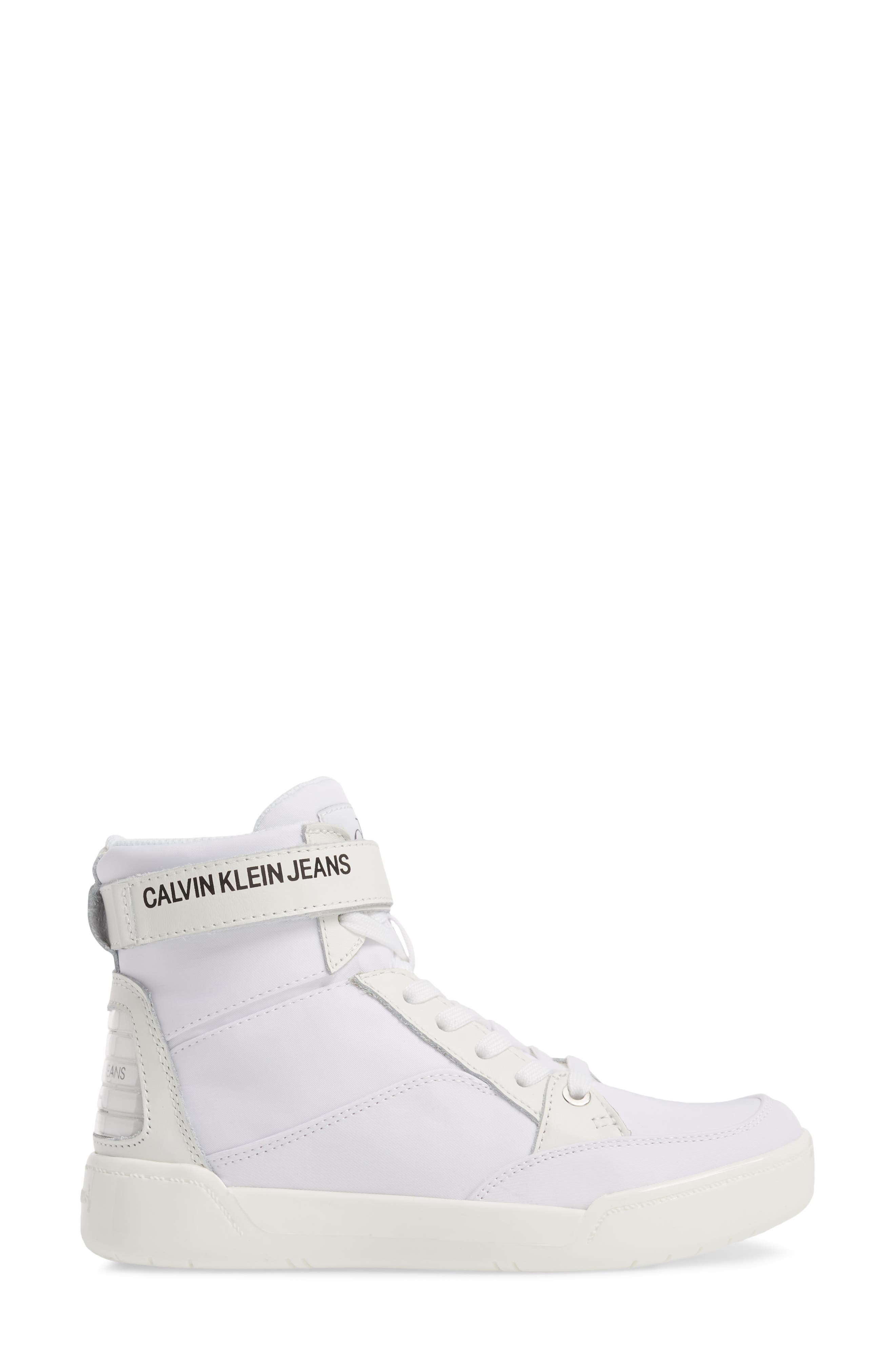 Nelda High Top Sneaker,                             Alternate thumbnail 3, color,                             WHITE LEATHER