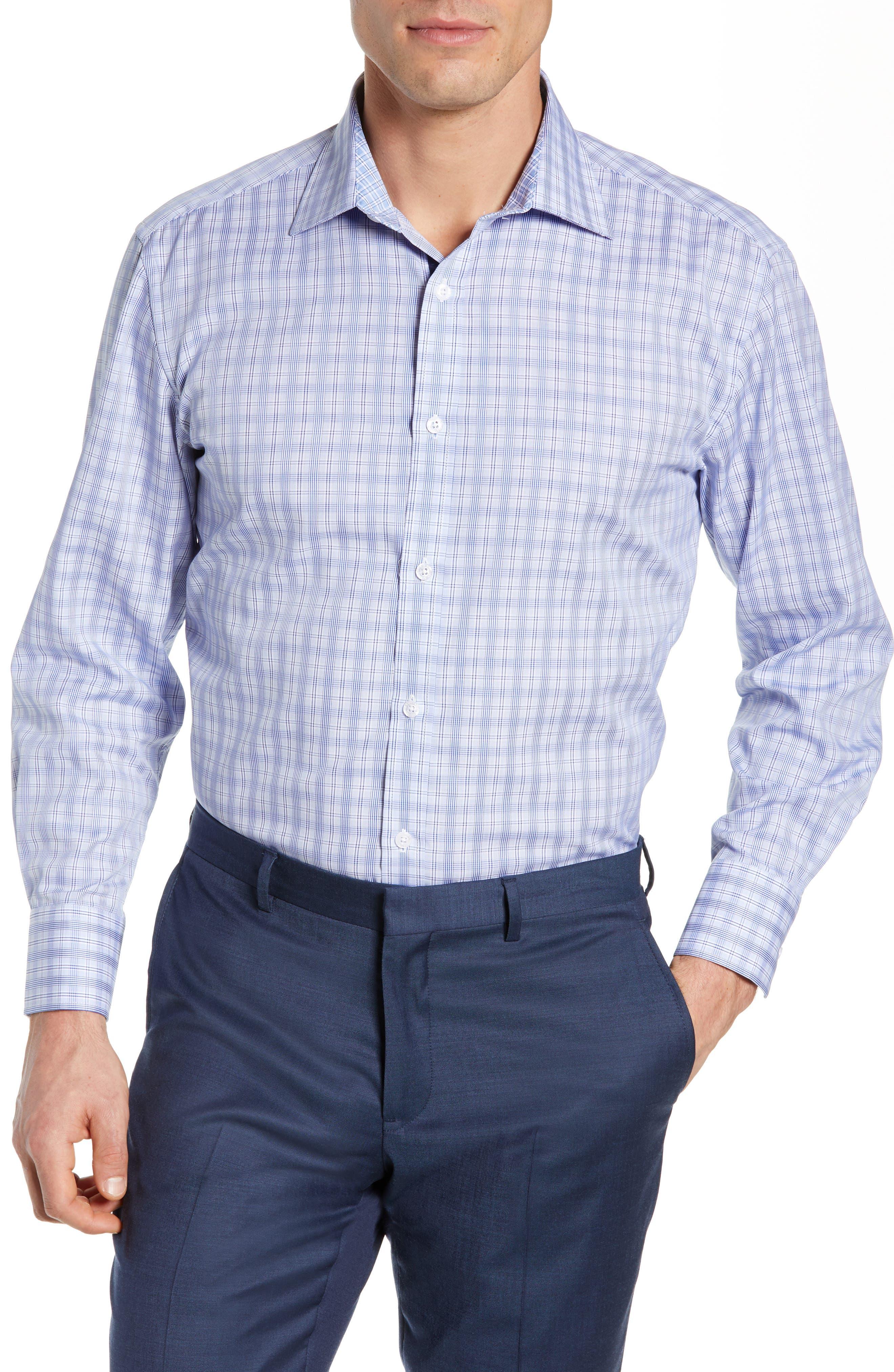 ENGLISH LAUNDRY Regular Fit Plaid Dress Shirt in Blue