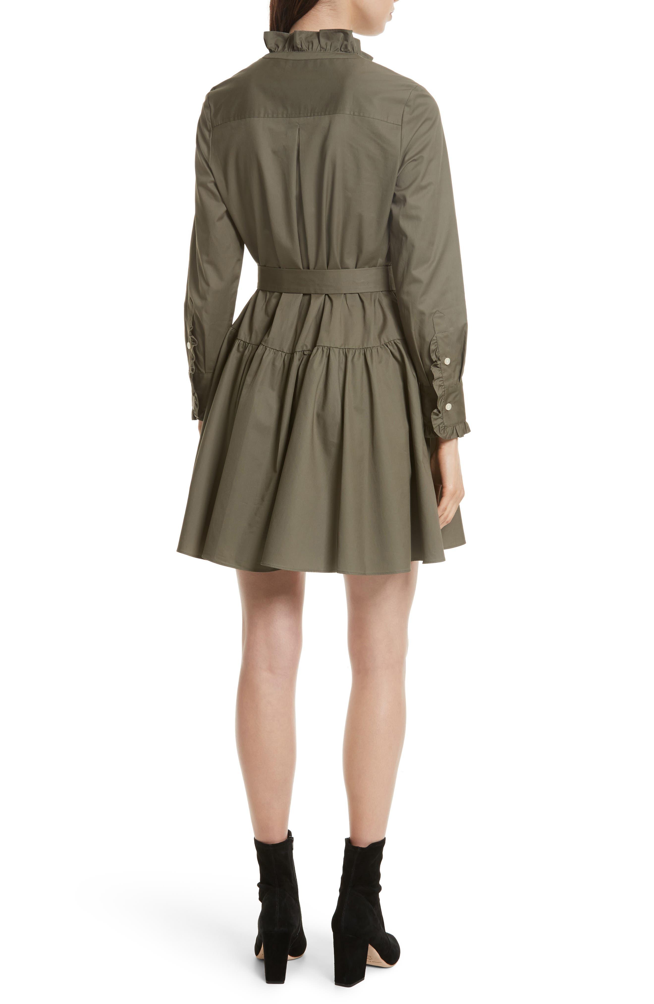 ruffle trim poplin shirtdress,                             Alternate thumbnail 2, color,                             301