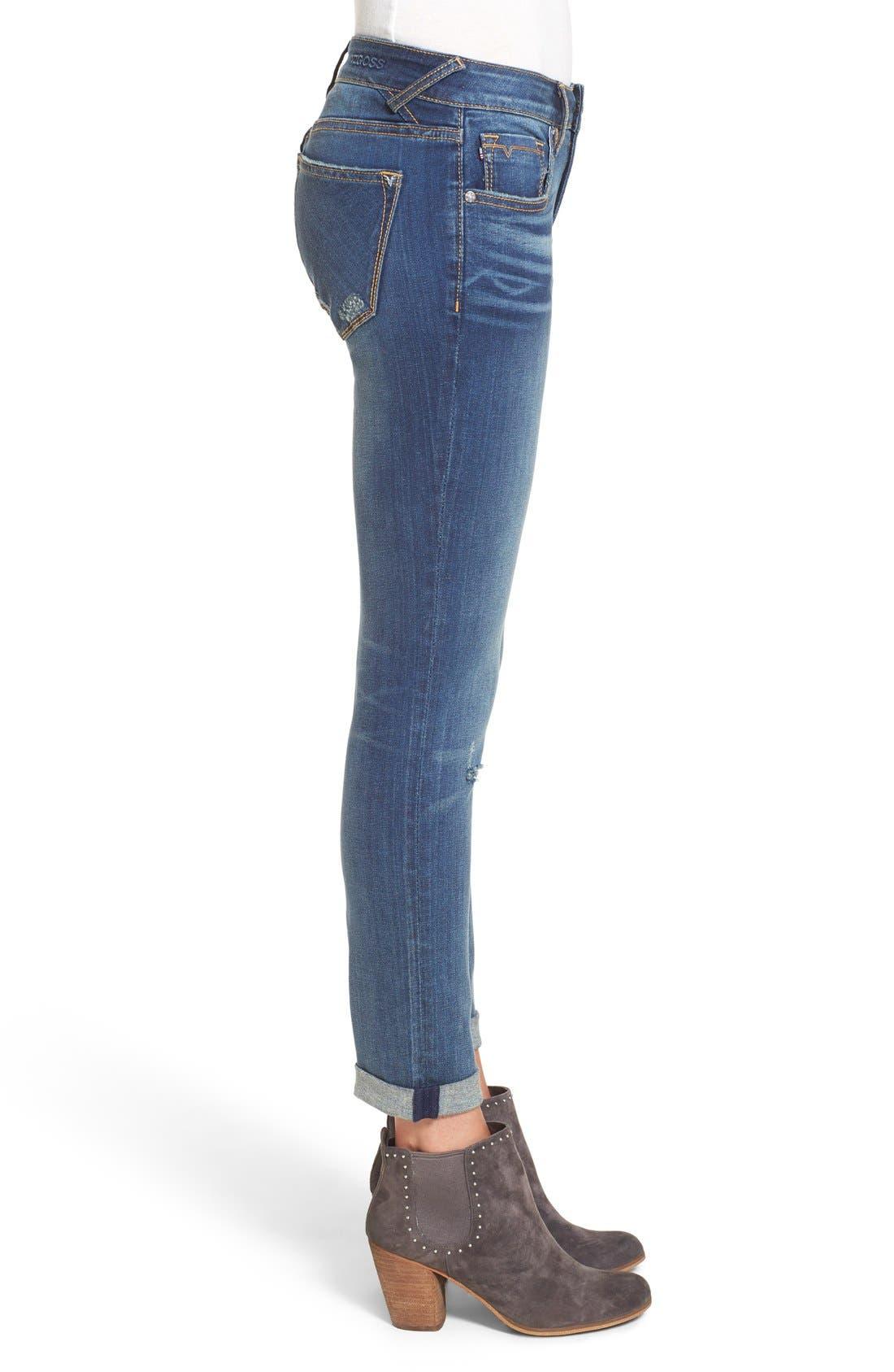 'Thompson' Distressed Skinny Jeans,                             Alternate thumbnail 4, color,