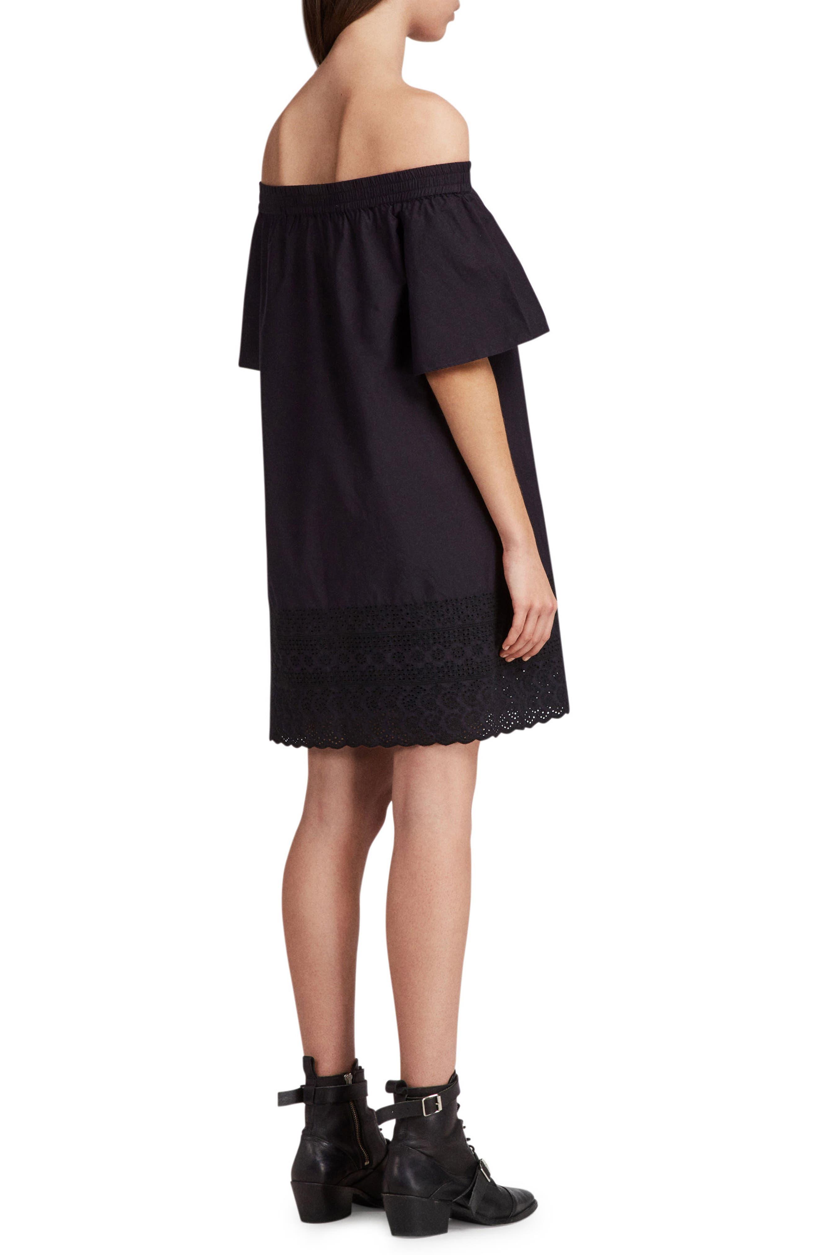 Livia Trixi Off the Shoulder Cotton Dress,                             Alternate thumbnail 2, color,                             BLACK