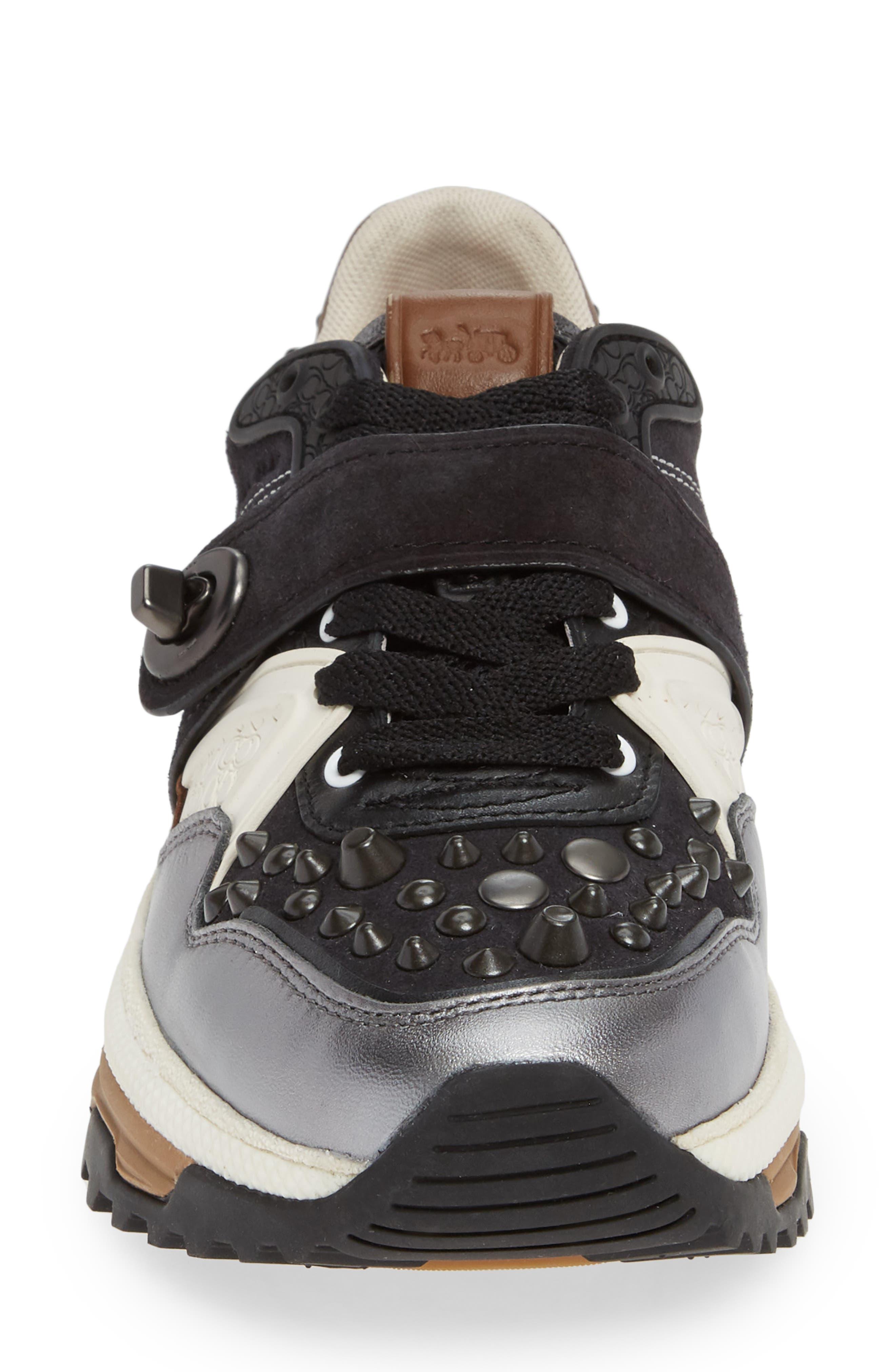 C143 Studded Sneaker,                             Alternate thumbnail 4, color,                             BLACK/ GUNMETAL LEATHER