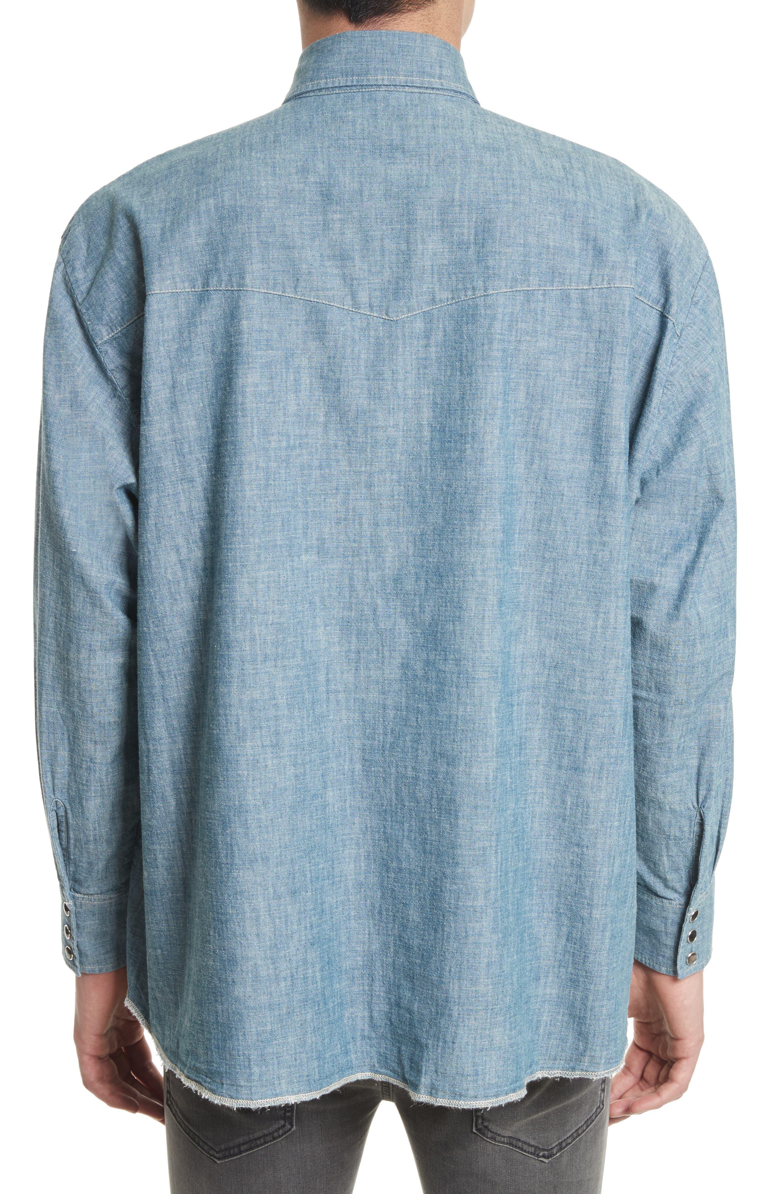 Oversize Chambray Snap Front Shirt,                             Alternate thumbnail 3, color,                             400