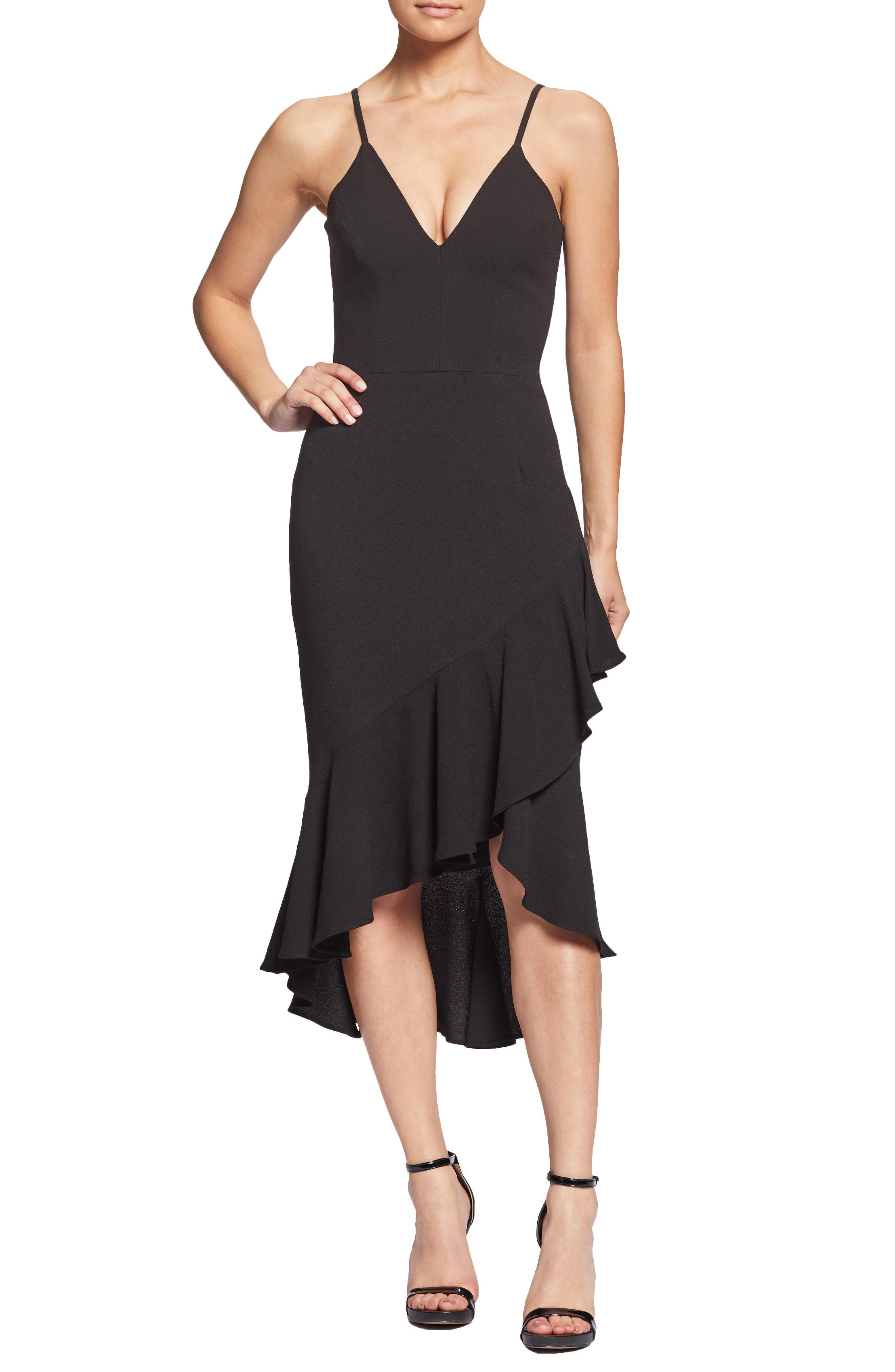 DRESS THE POPULATION Wendy High/Low Ruffle Cocktail Dress, Main, color, BLACK