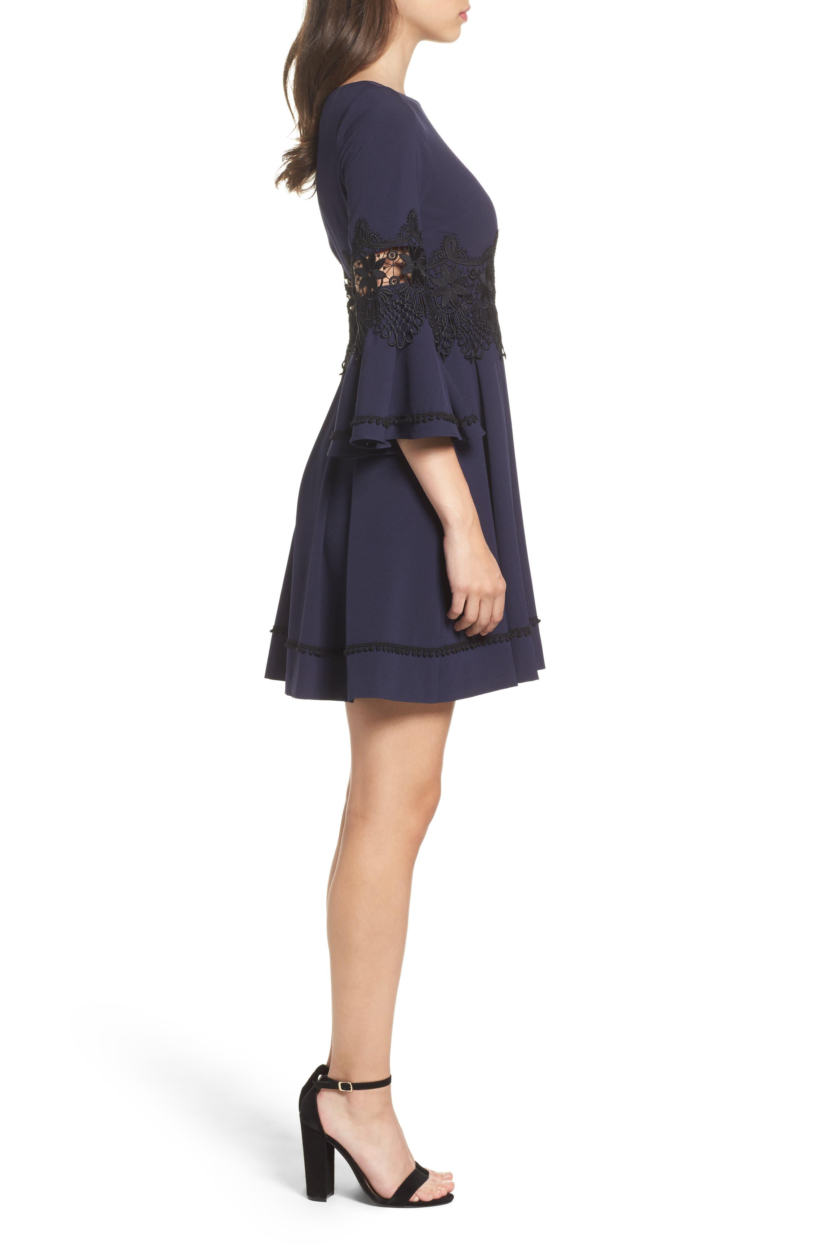 Lace Detail A-Line Dress,                             Alternate thumbnail 3, color,                             488