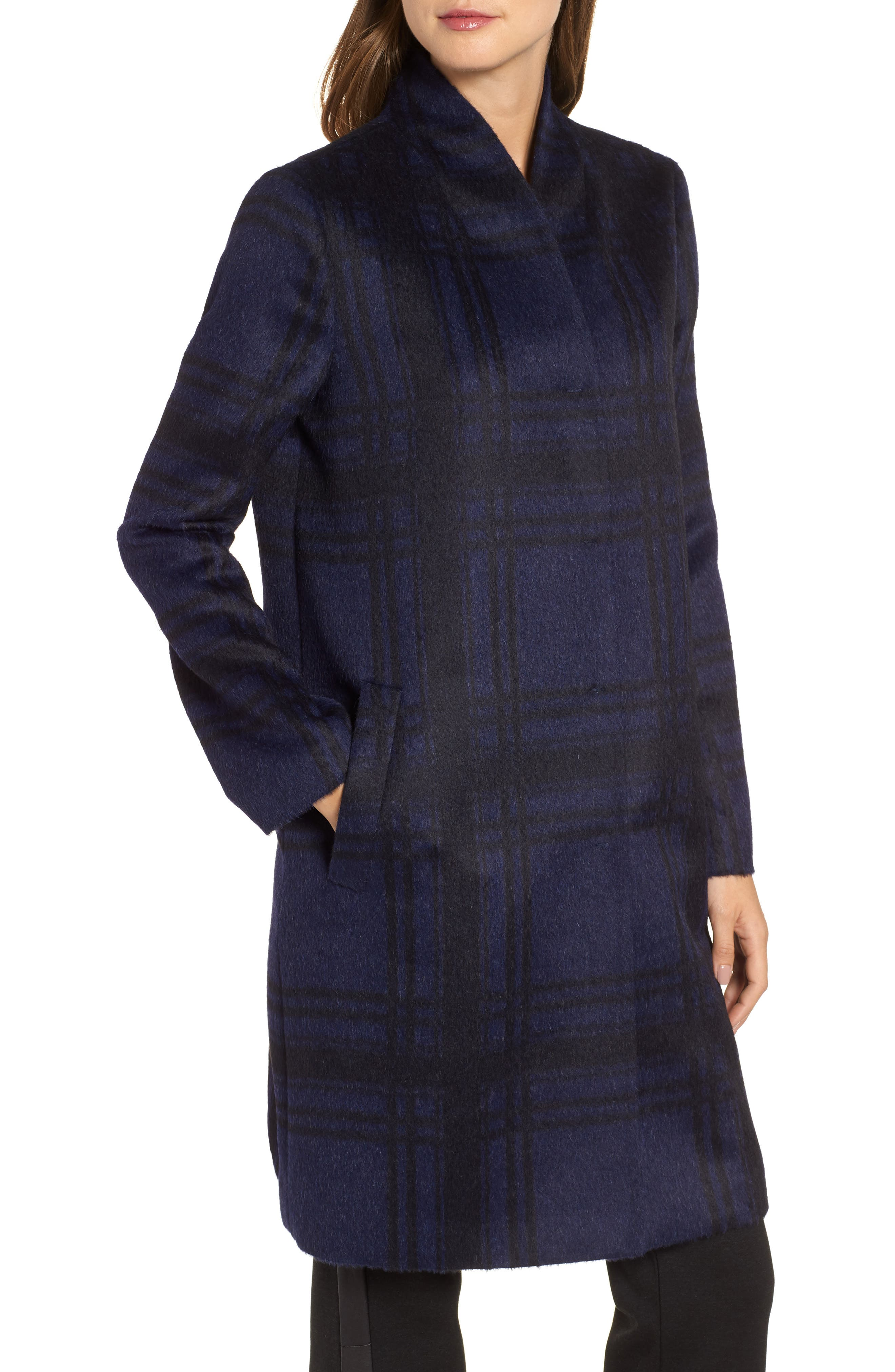 Plaid Alpaca Blend Coat,                             Alternate thumbnail 4, color,                             419