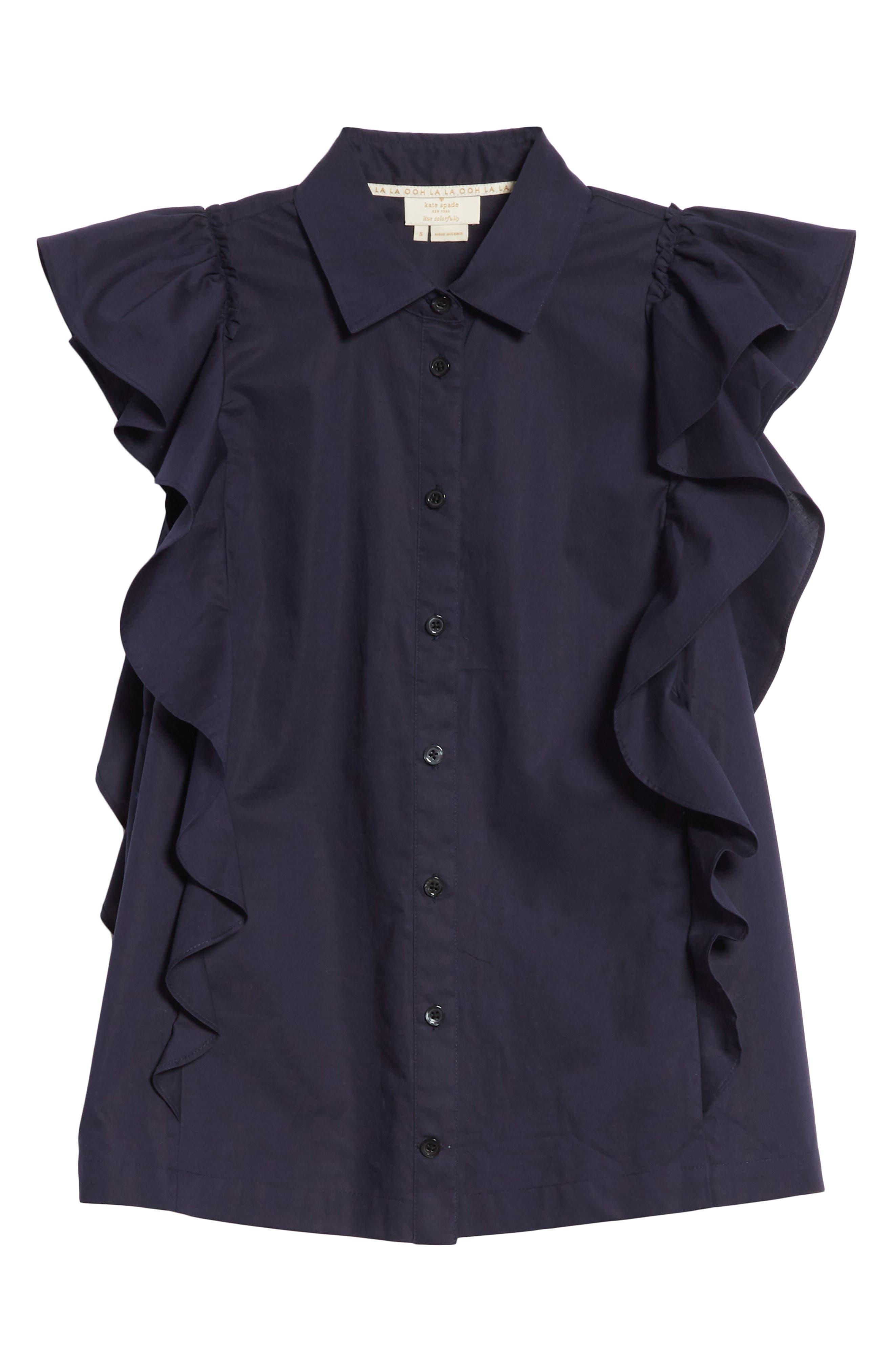 flutter sleeve button down cotton blouse,                             Alternate thumbnail 6, color,