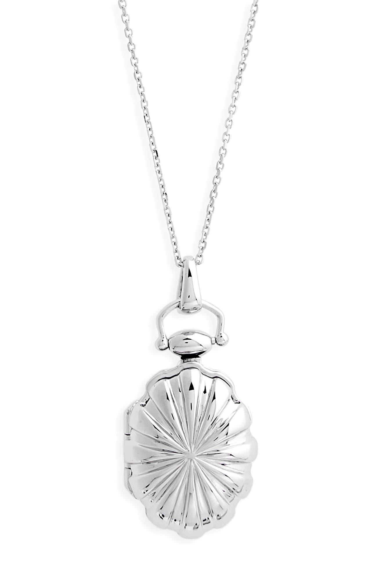 Petite Sunburst Locket Necklace,                         Main,                         color, STERLING SILVER