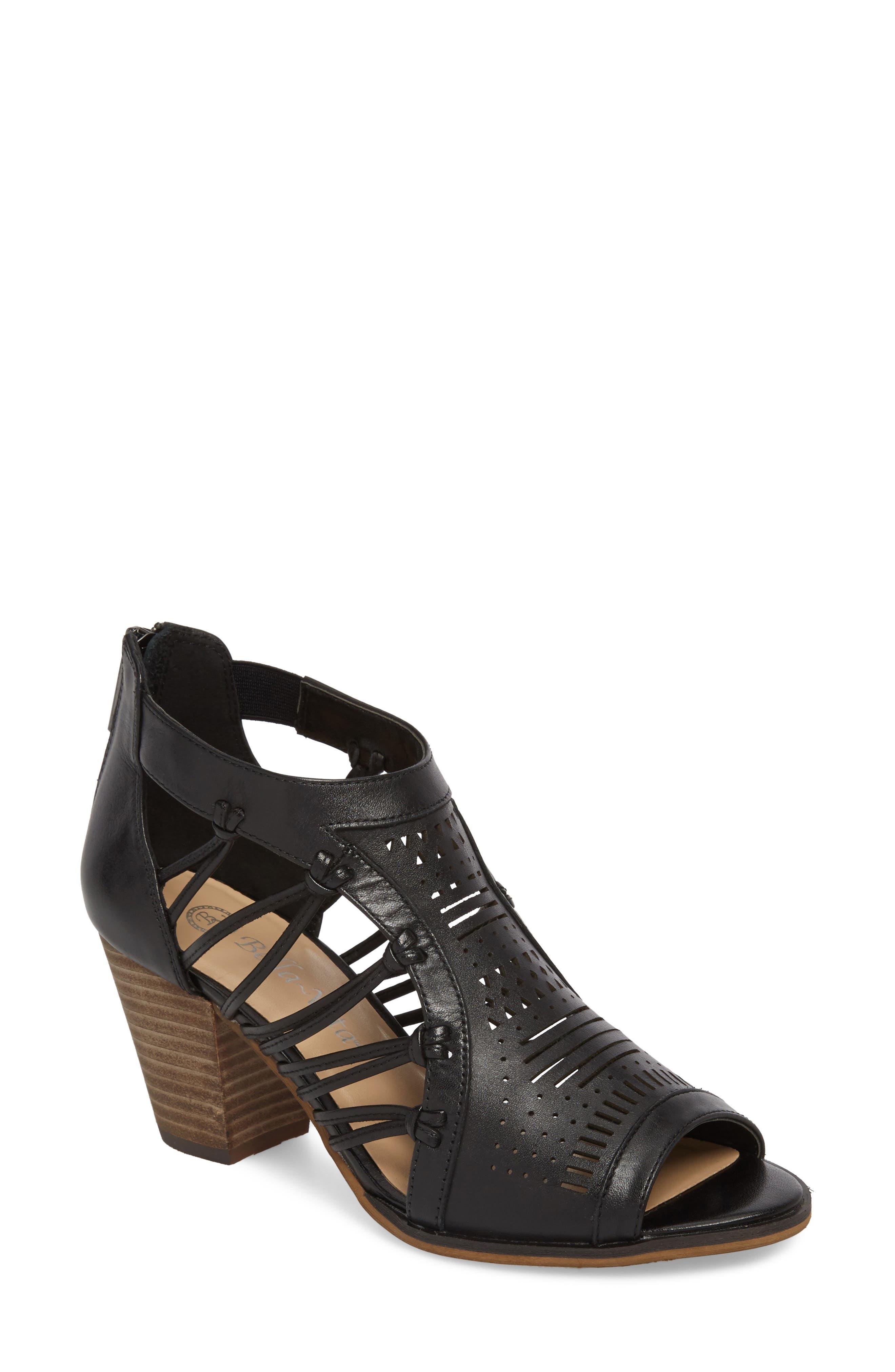 Kortez Block Heel Sandal,                             Main thumbnail 1, color,                             BLACK LEATHER