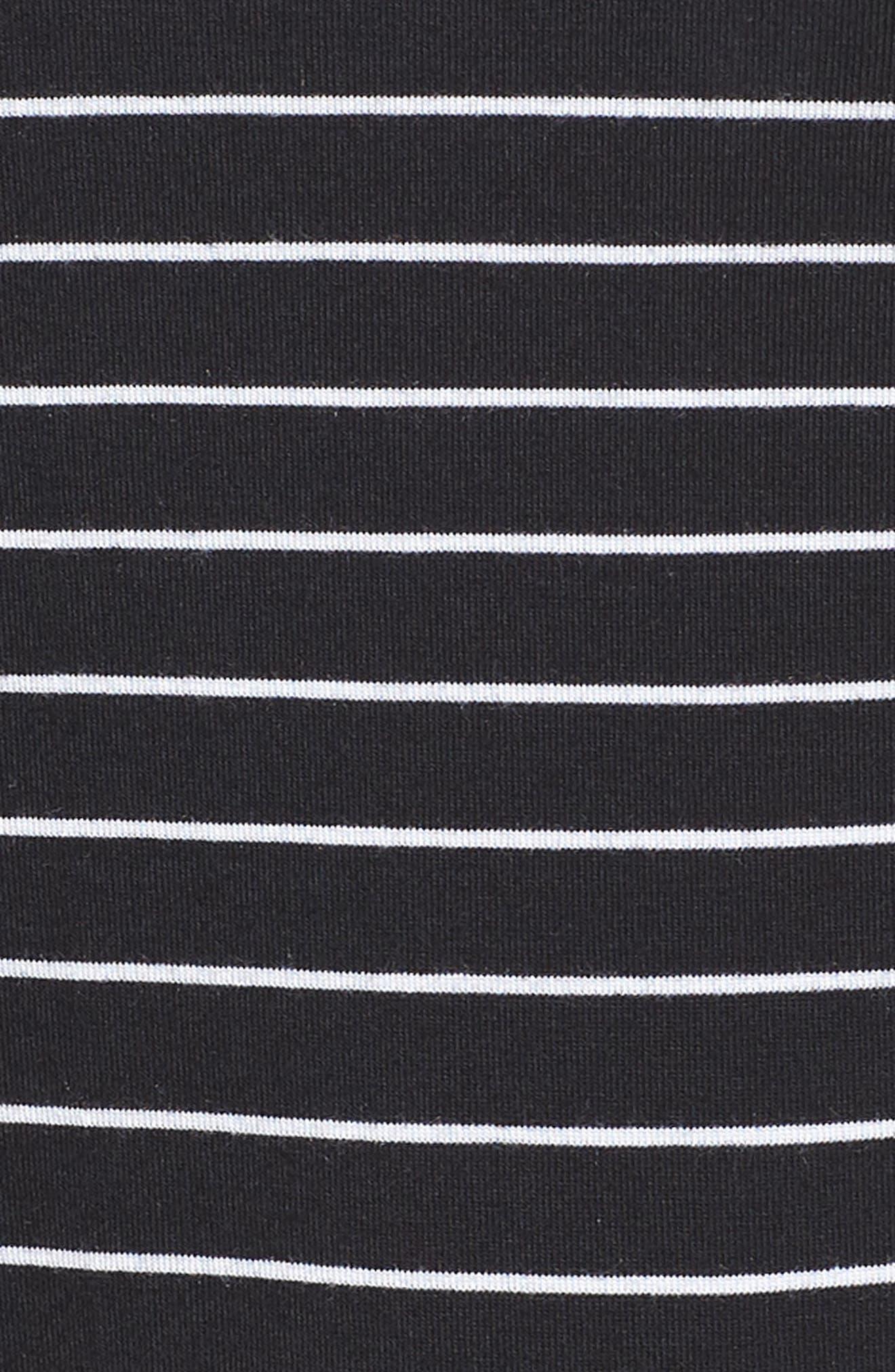Mesh Inset Sleeve Tee,                             Alternate thumbnail 6, color,                             BLACK/ WHITE STRIPE