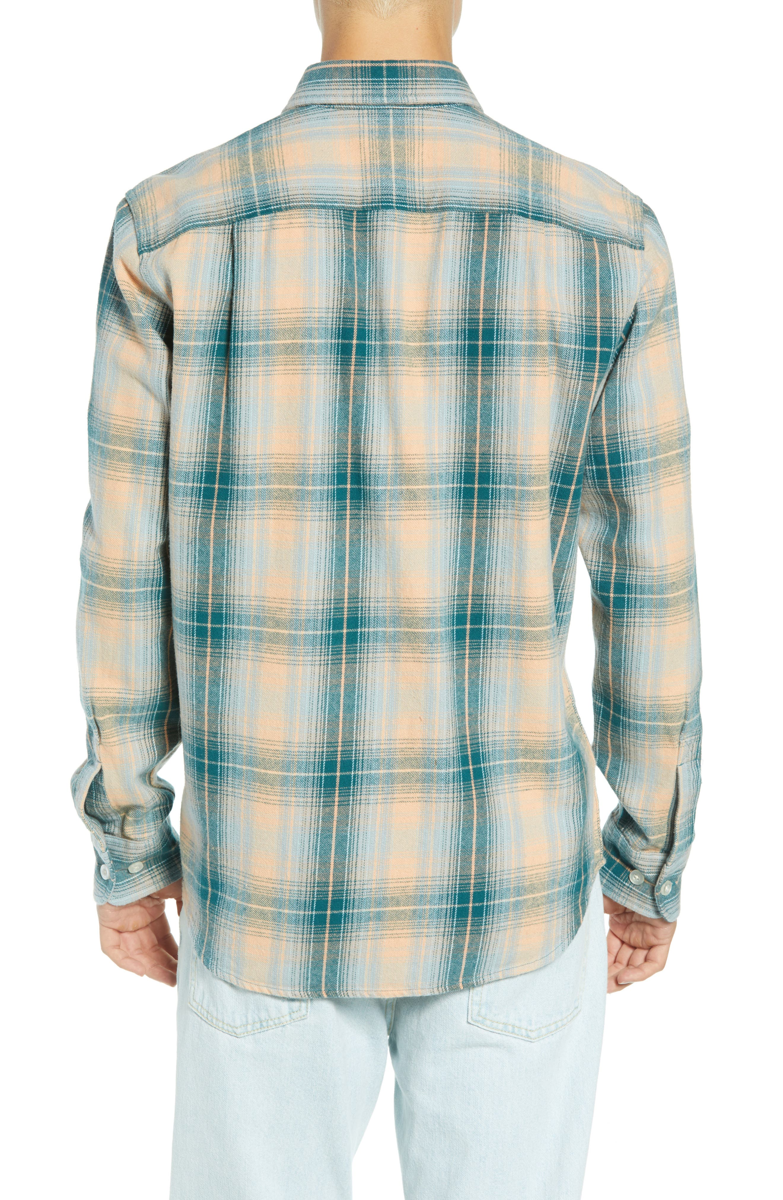 Continental Plaid Flannel Shirt,                             Alternate thumbnail 3, color,                             PINE MULTI