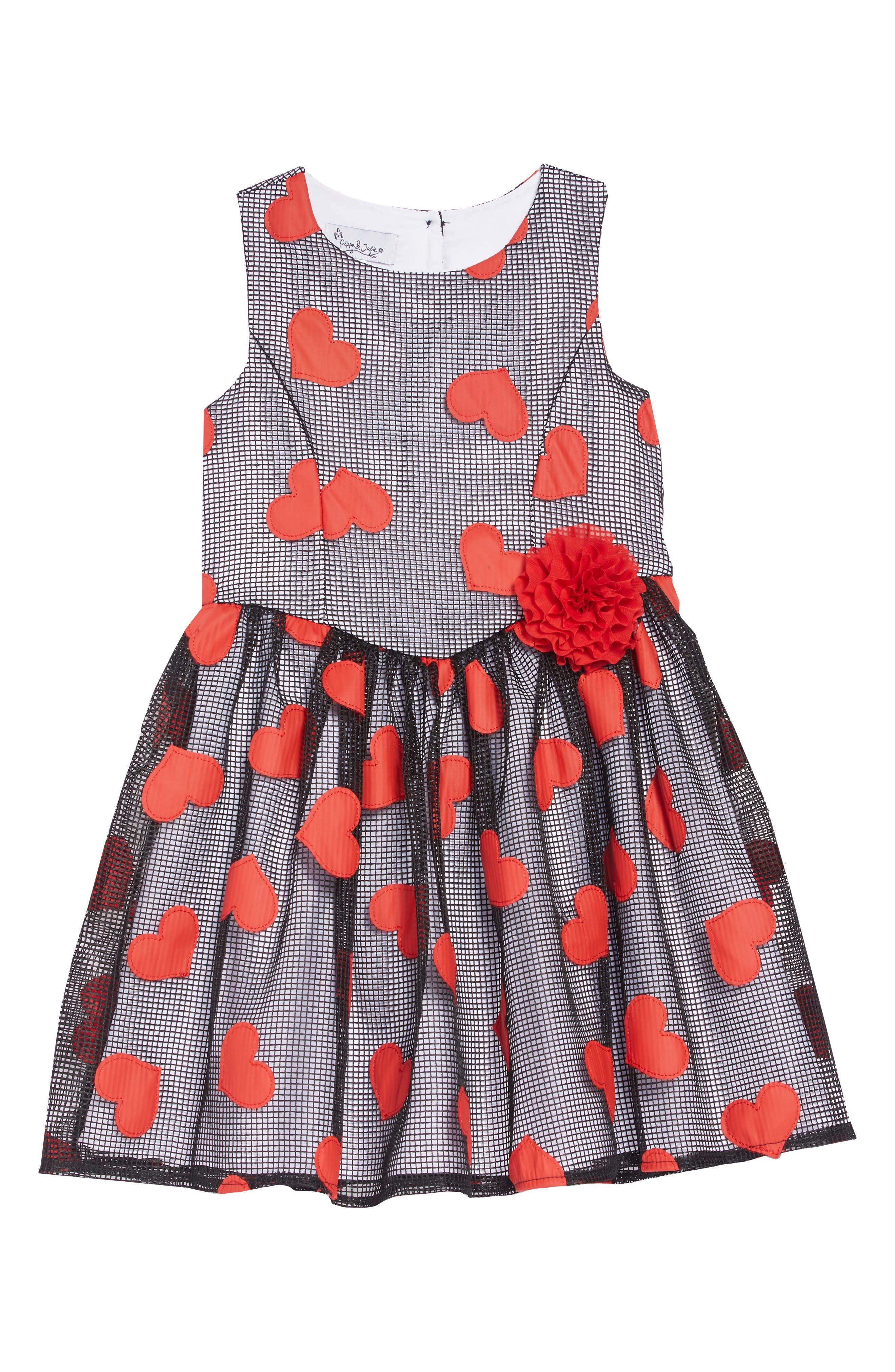 Heart Appliqué Mesh Party Dress,                             Main thumbnail 1, color,                             BLACK/ RED