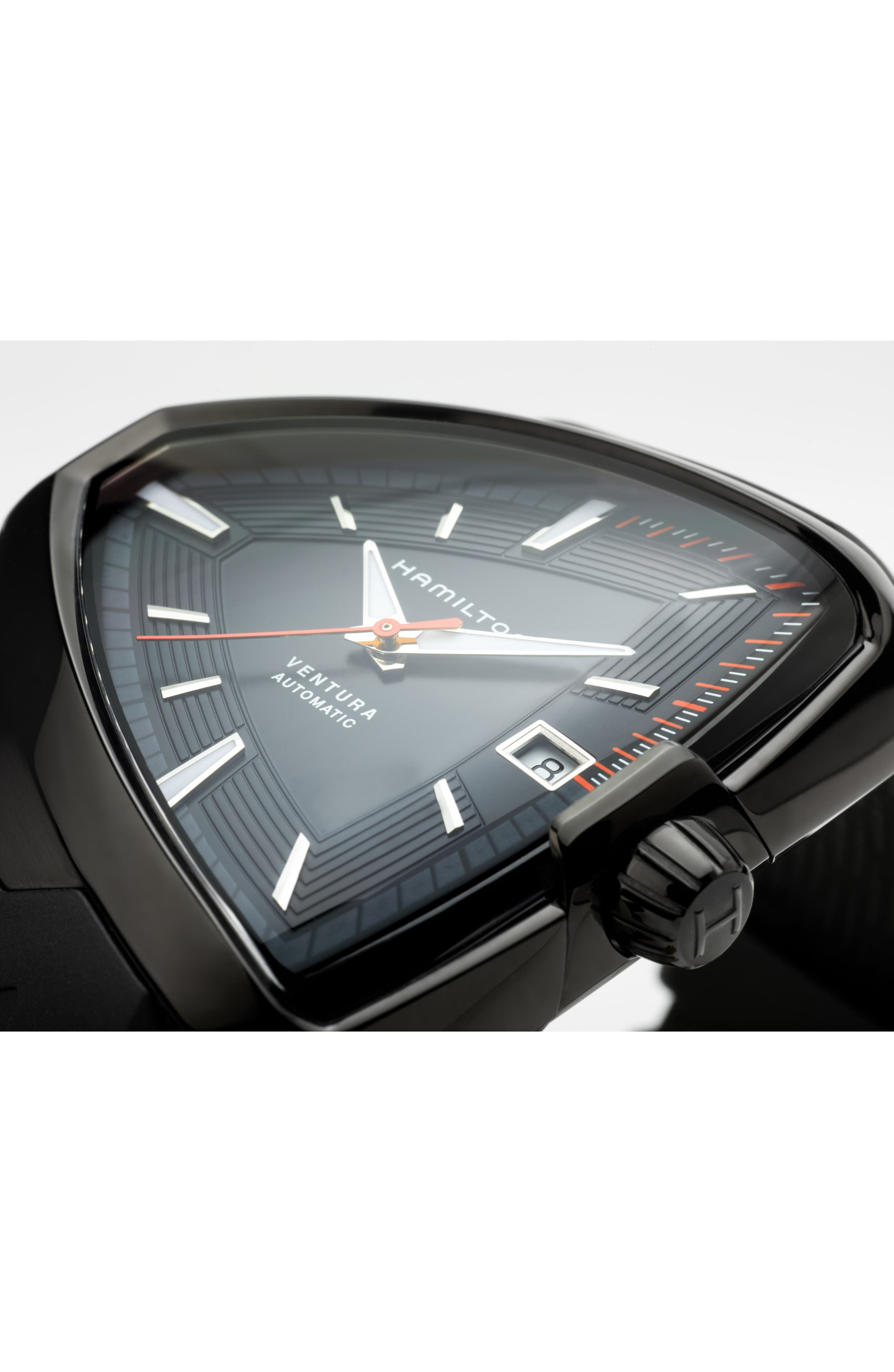 Ventura Elvis80 Automatic Silicone Strap Watch, 42.5mm x 44.5mm,                             Alternate thumbnail 3, color,                             001