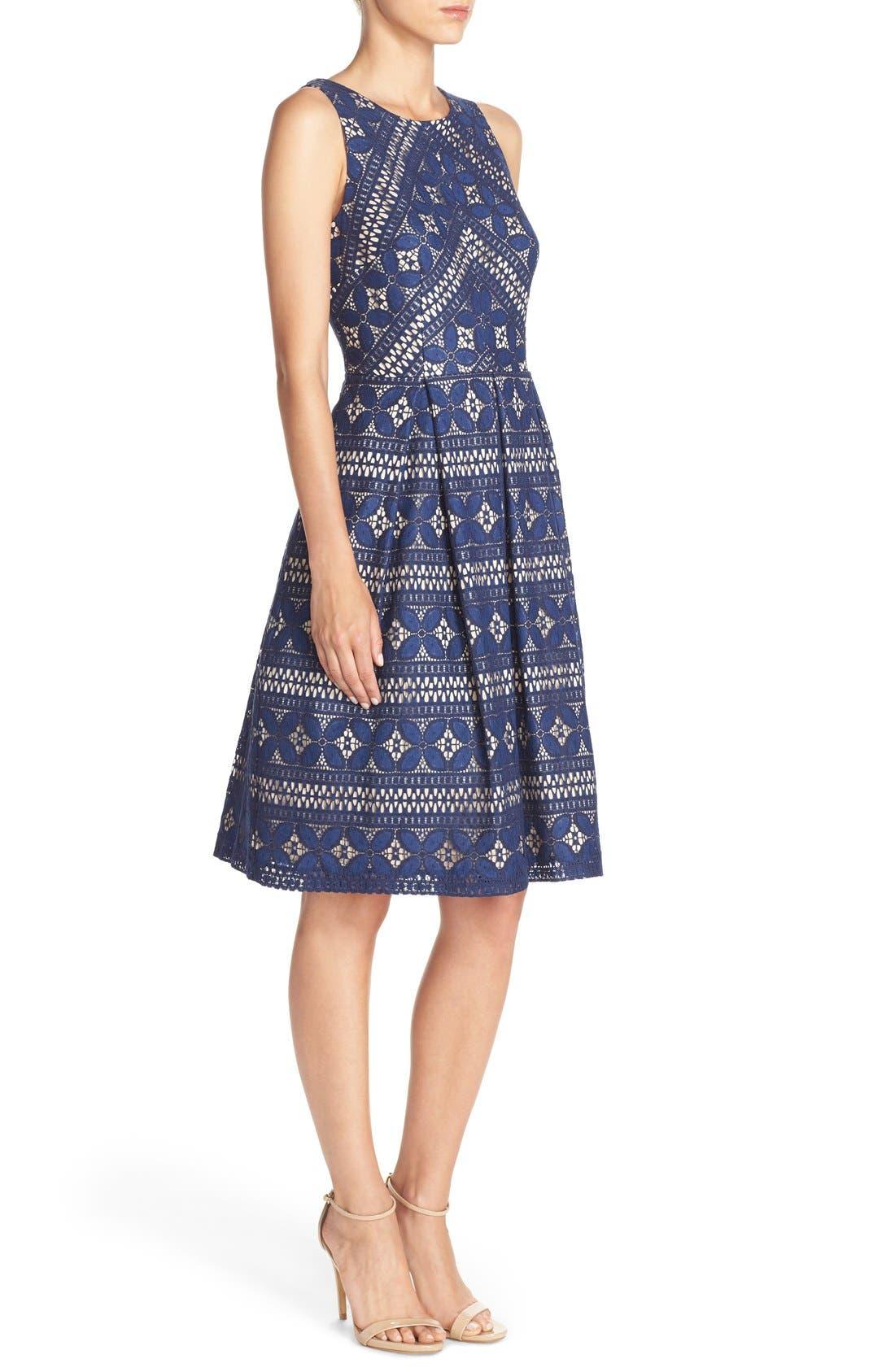 Lace Fit & Flare Dress,                             Alternate thumbnail 3, color,                             422