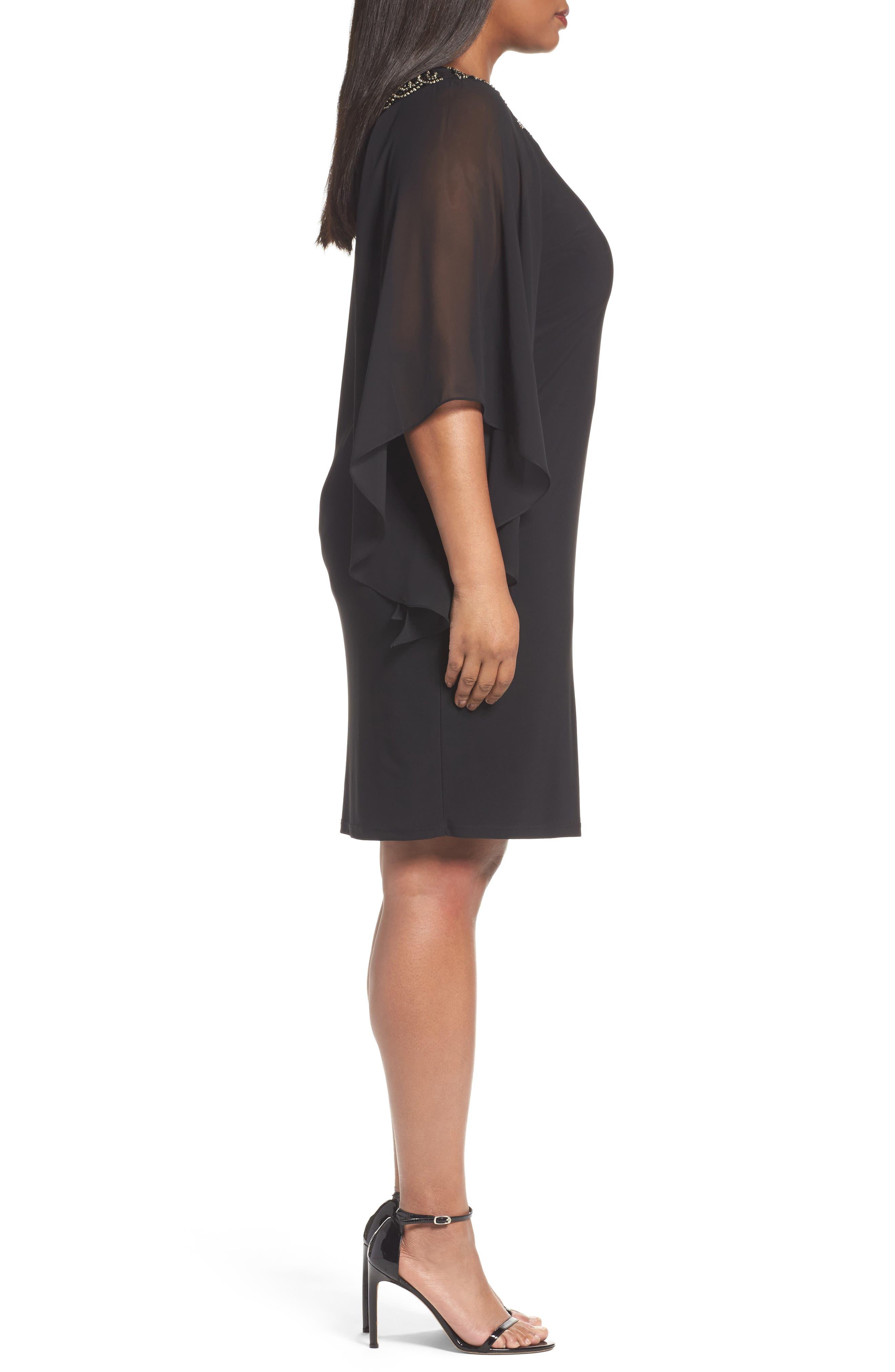 Beaded Chiffon Sleeve Sheath Dress,                             Alternate thumbnail 3, color,                             010