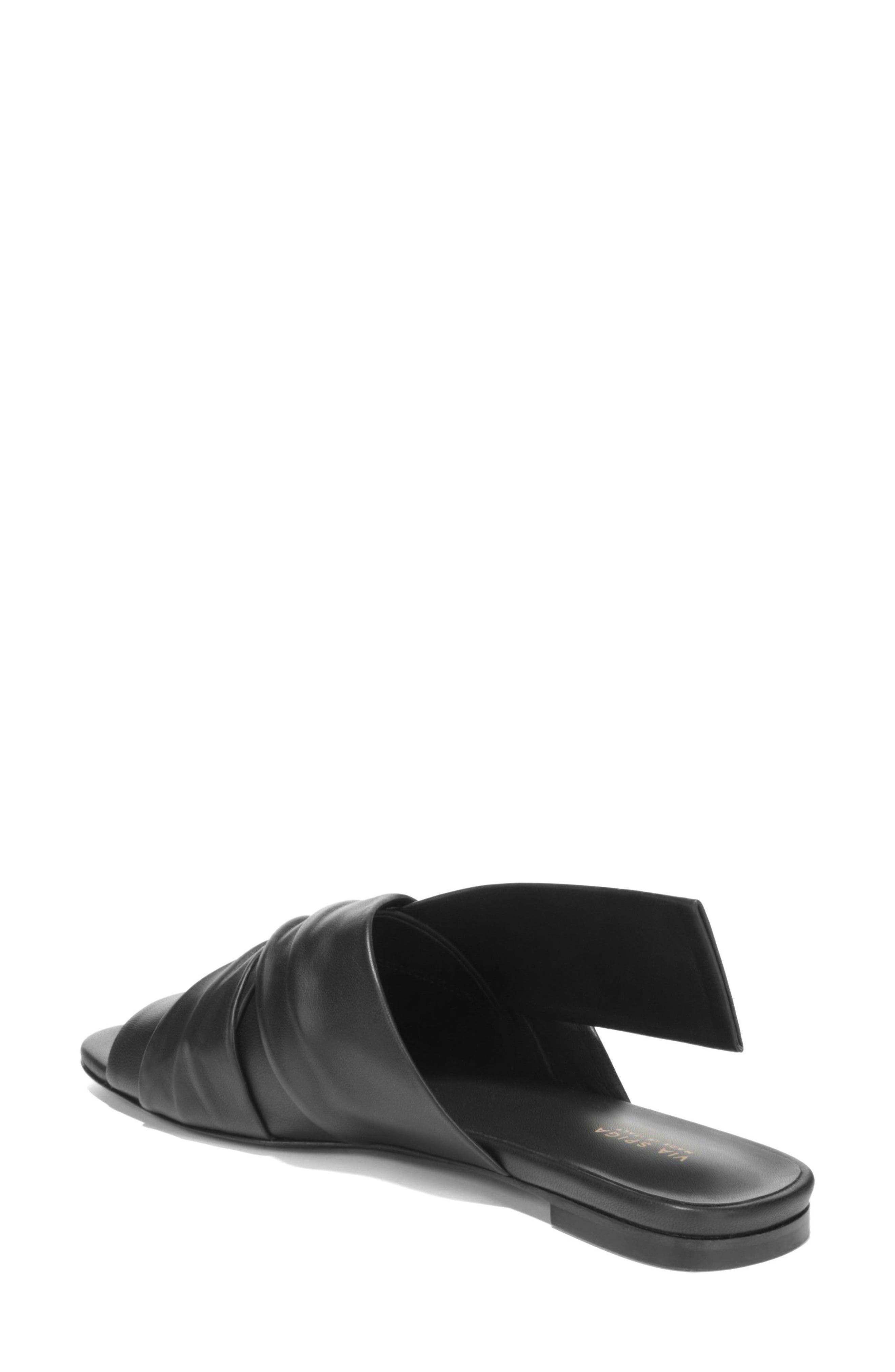 Halina Slide Sandal,                             Alternate thumbnail 2, color,                             BLACK LEATHER