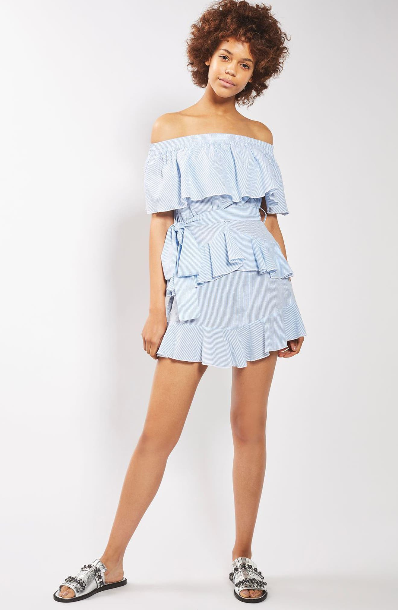 TOPSHOP,                             Bardot Ruffle Stripe Dress,                             Alternate thumbnail 4, color,                             450