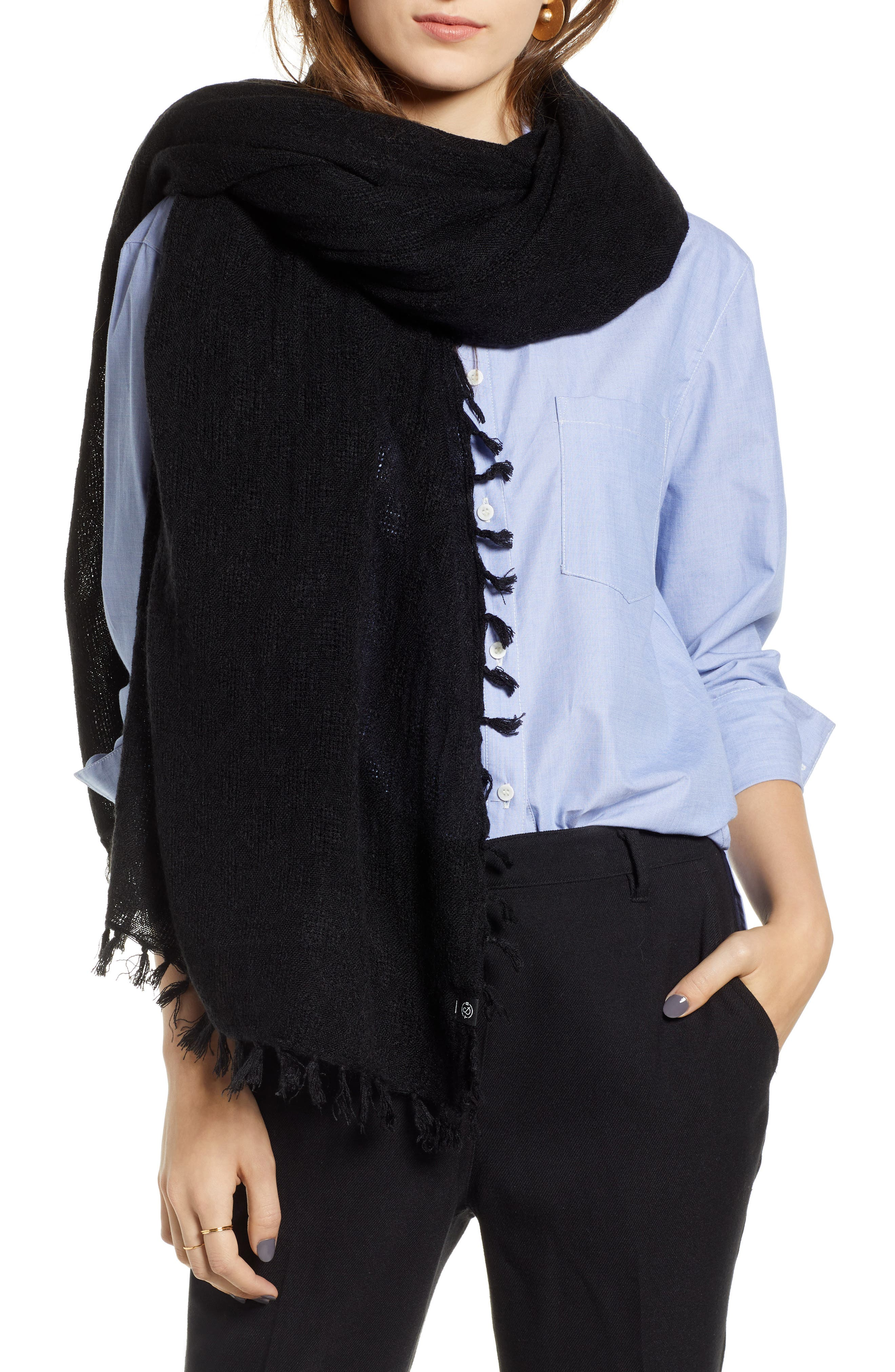 Solid Fringed Scarf,                         Main,                         color, BLACK