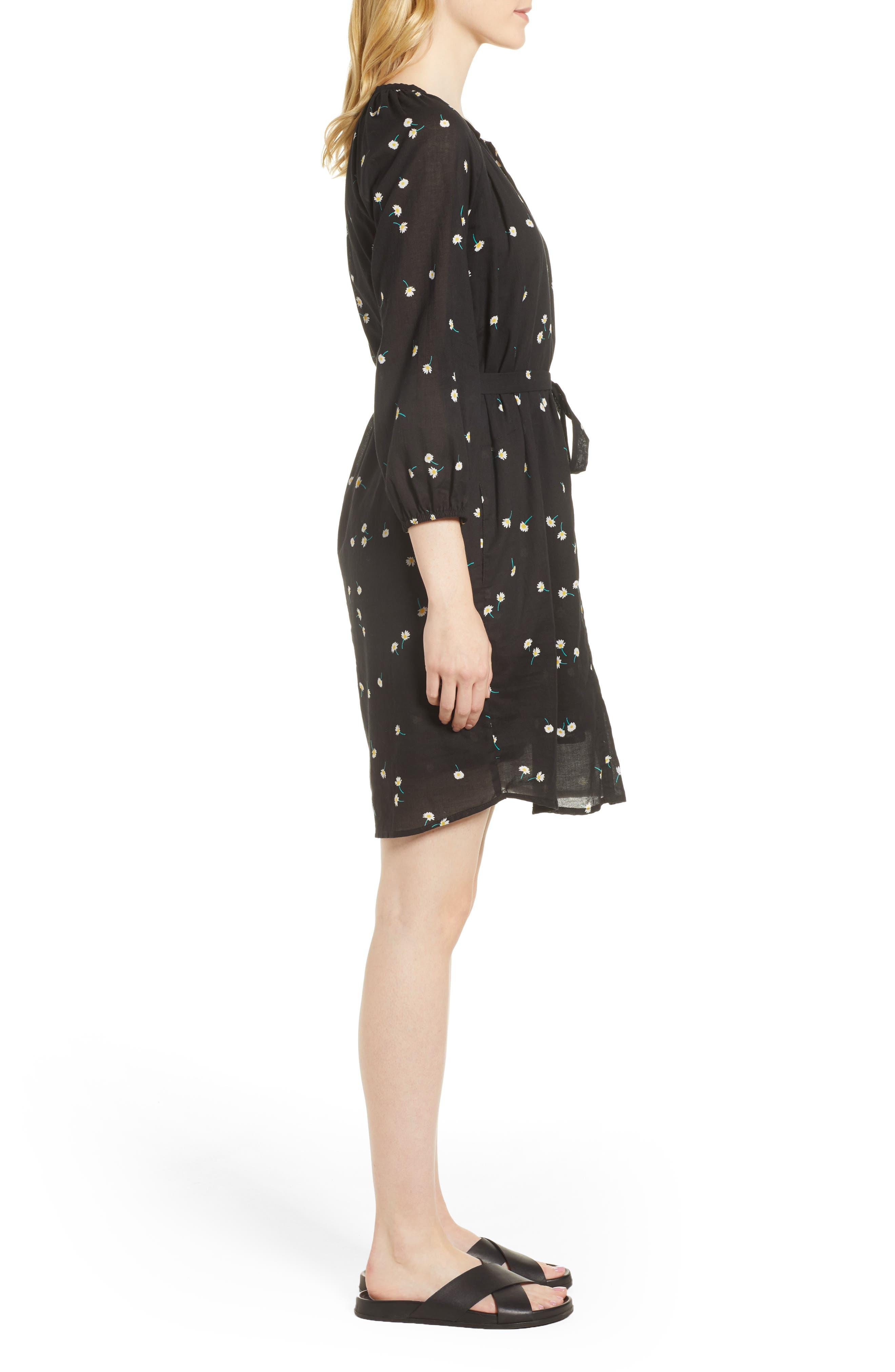 Printed Cotton Gauze Dress,                             Alternate thumbnail 3, color,                             008