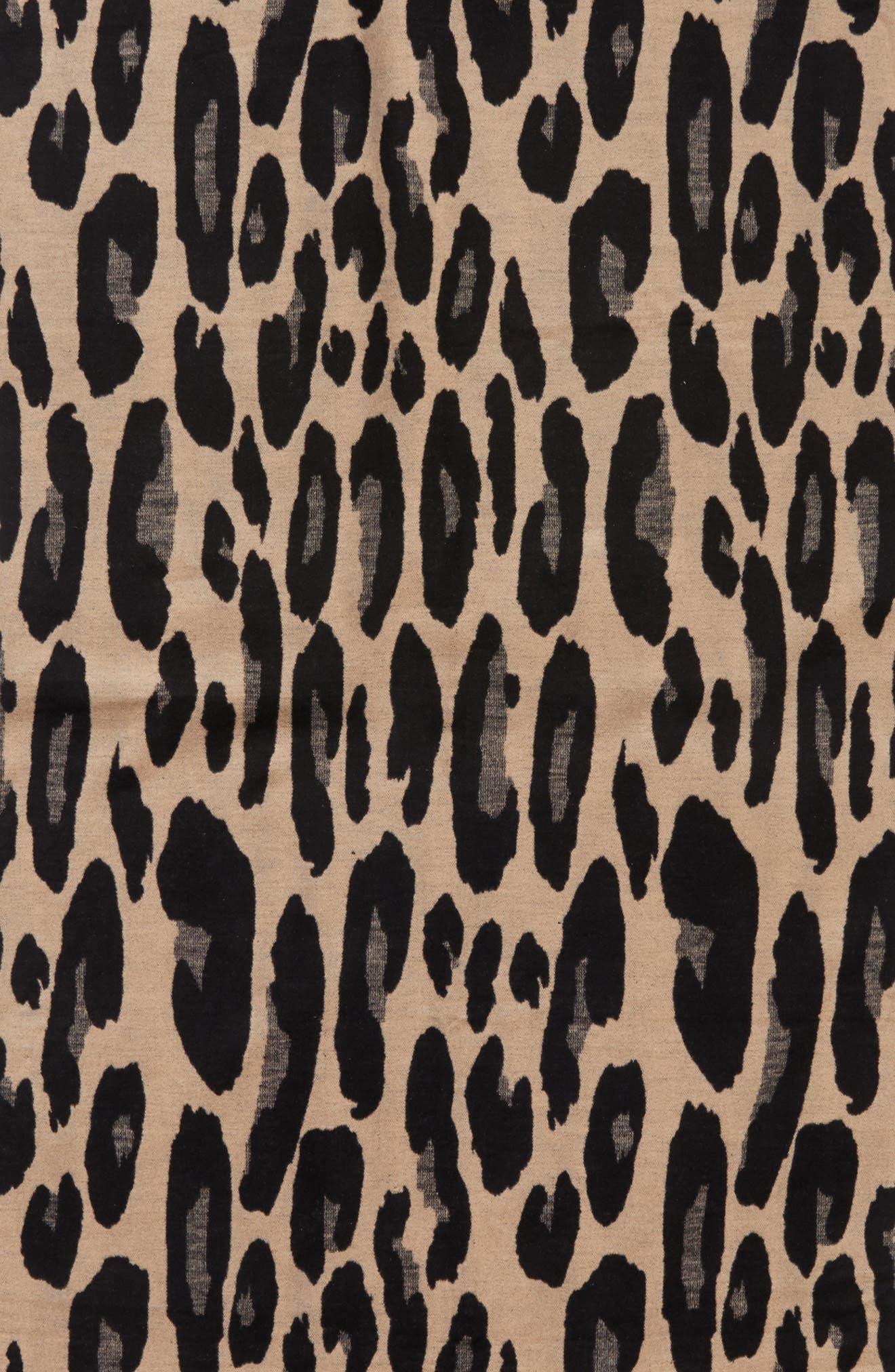 Leopard Print Brushed Silk Scarf,                             Alternate thumbnail 4, color,                             001