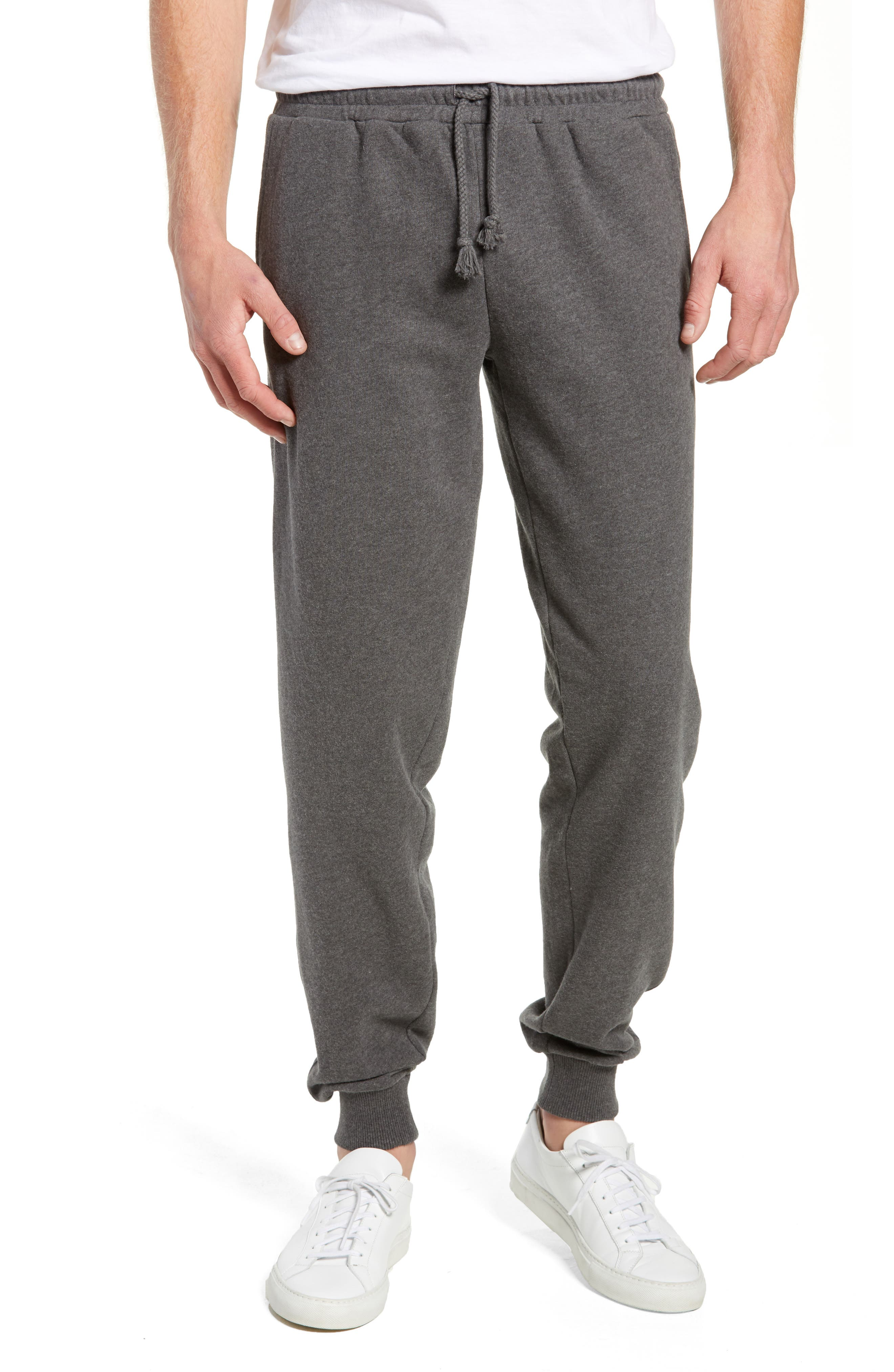 KnowledgeCotton Mélange Sweatpants,                         Main,                         color, GREY MELANGE
