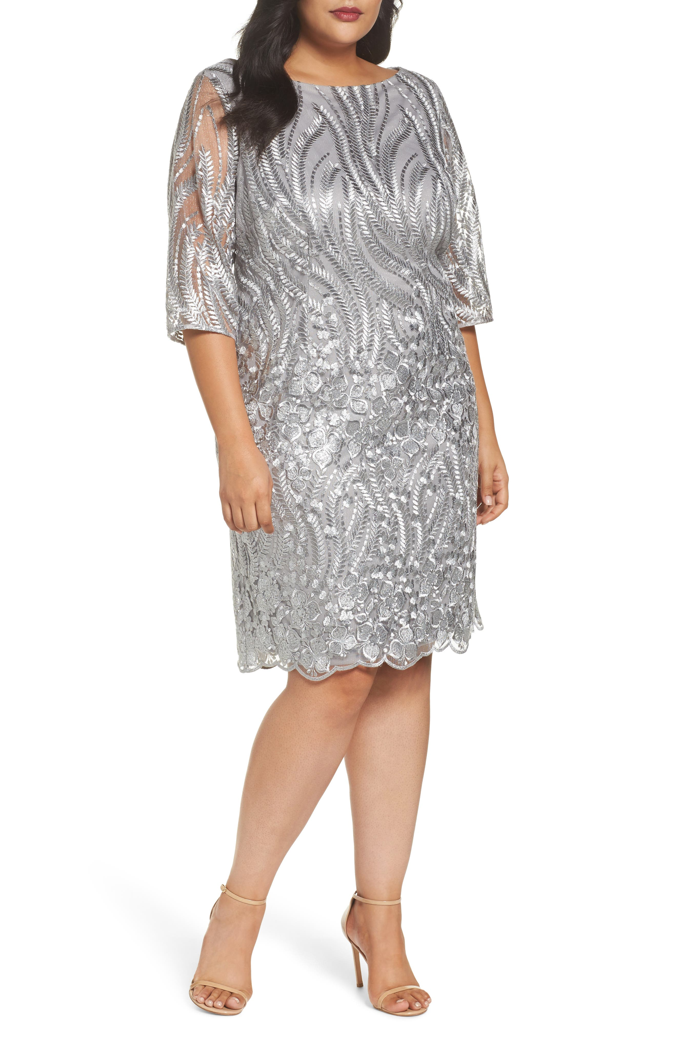 Sequin Embroidered Lace Sheath Dress,                         Main,                         color, 020