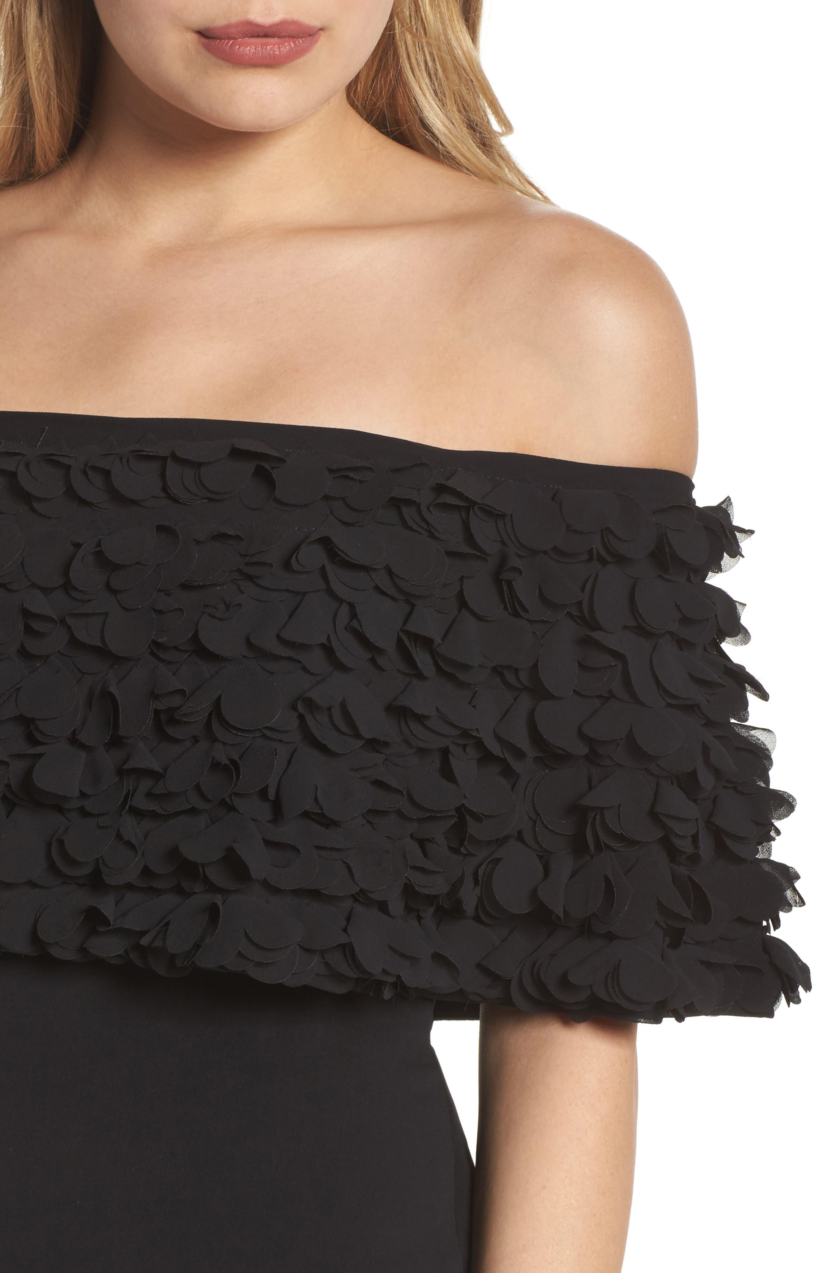 Off the Shoulder Sheath Dress,                             Alternate thumbnail 4, color,                             001
