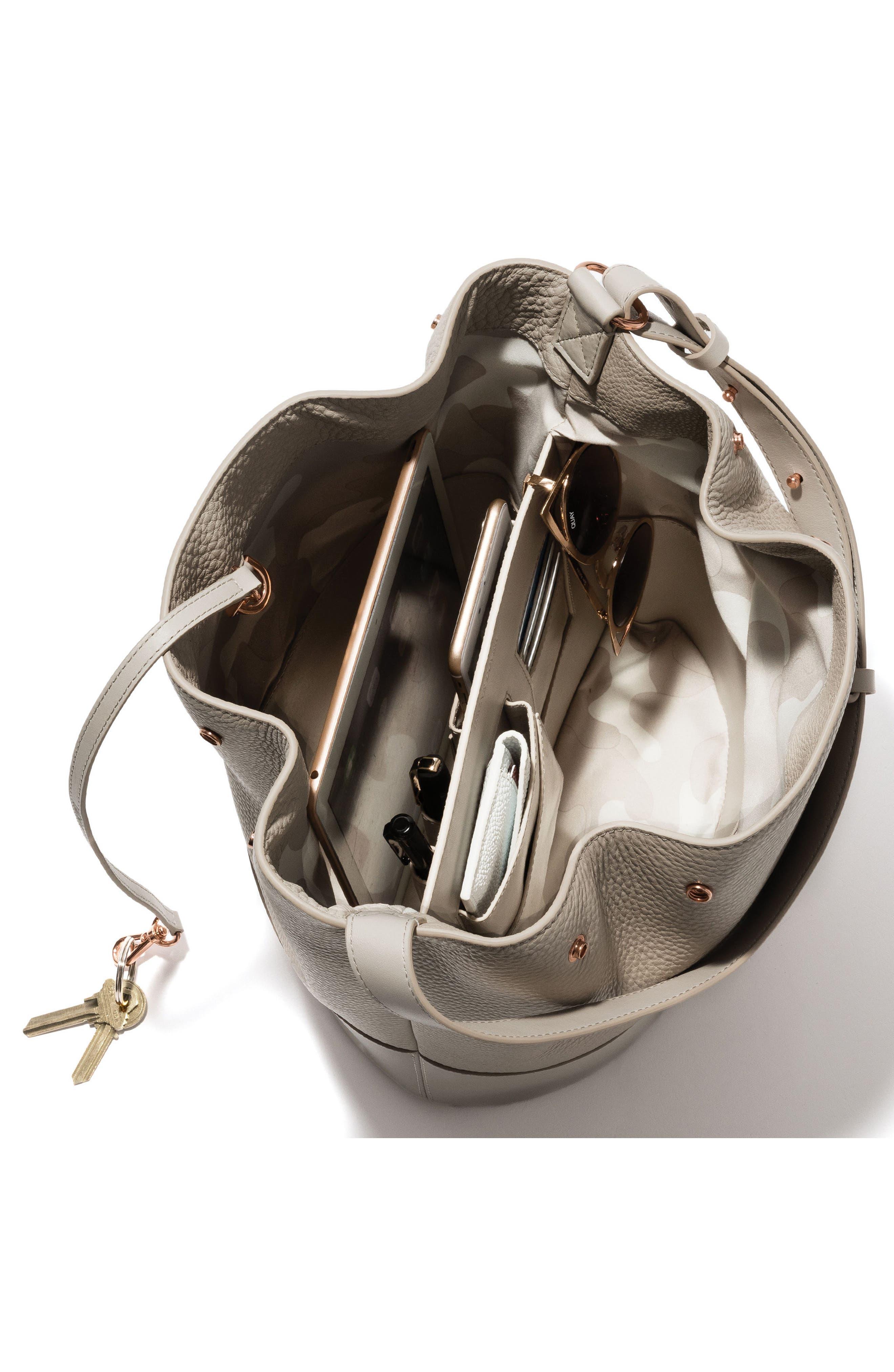Ava Leather Bucket Bag,                             Alternate thumbnail 2, color,                             BONE