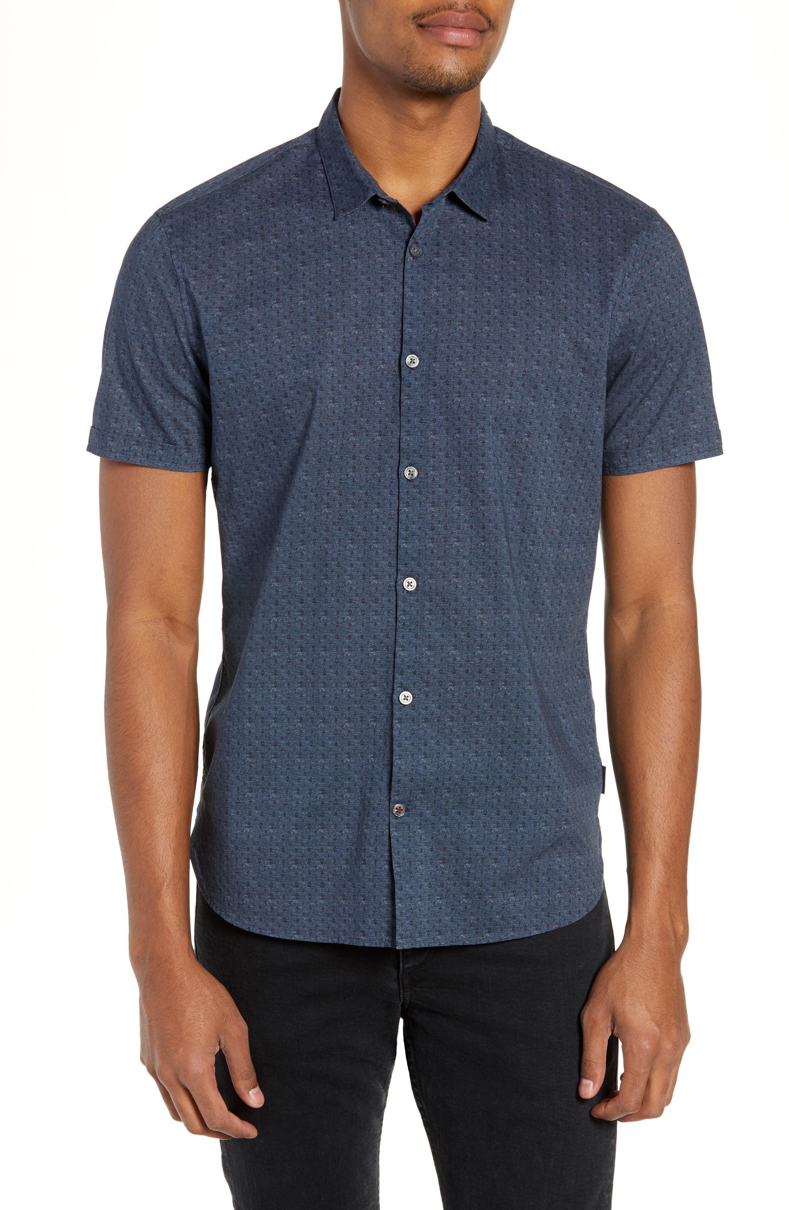 JOHN VARVATOS STAR USA Regular Fit Foulard Print Sport Shirt, Main, color, TITANIUM BLUE