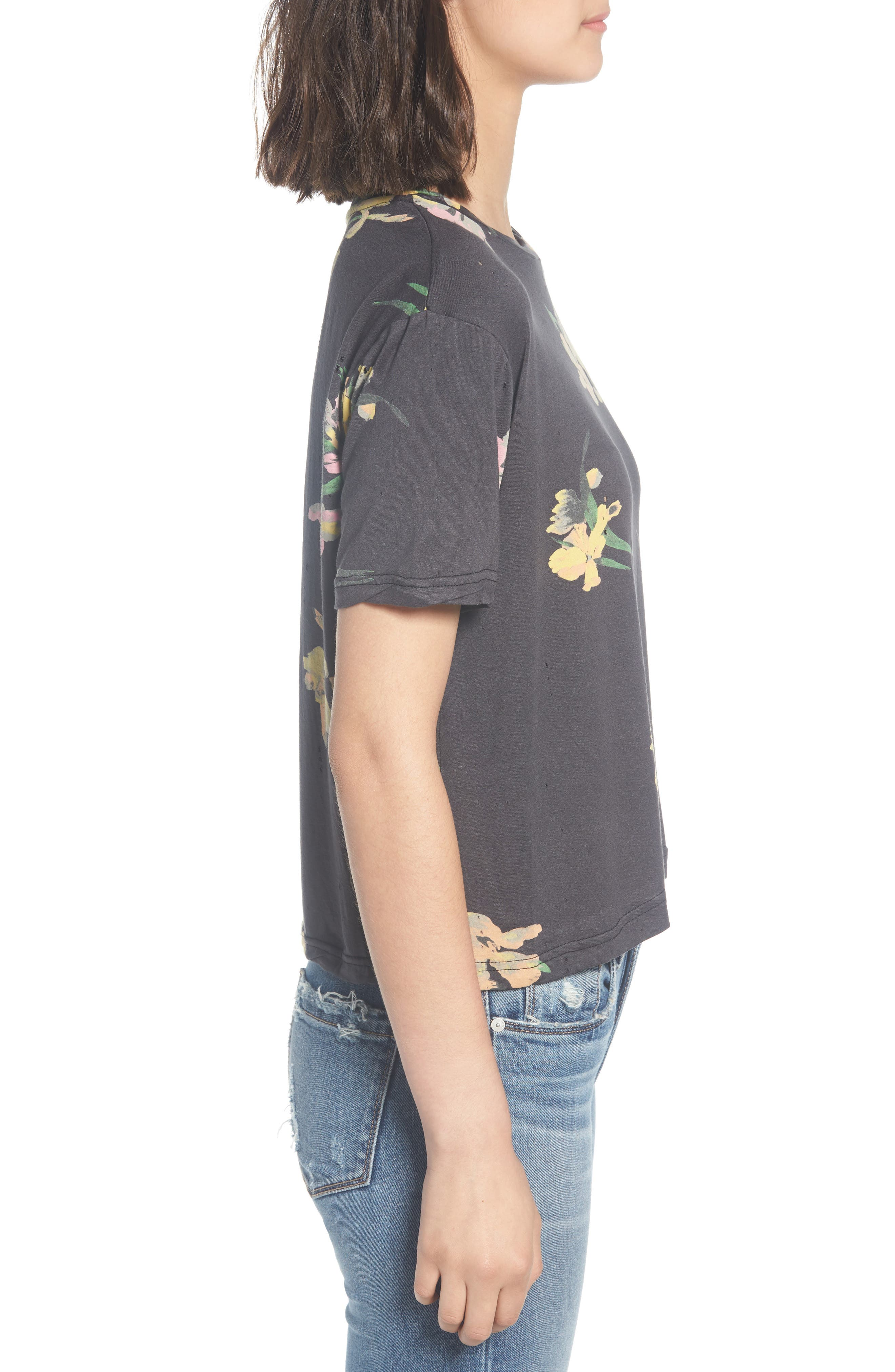 Floral Print Distressed Tee,                             Alternate thumbnail 3, color,                             001