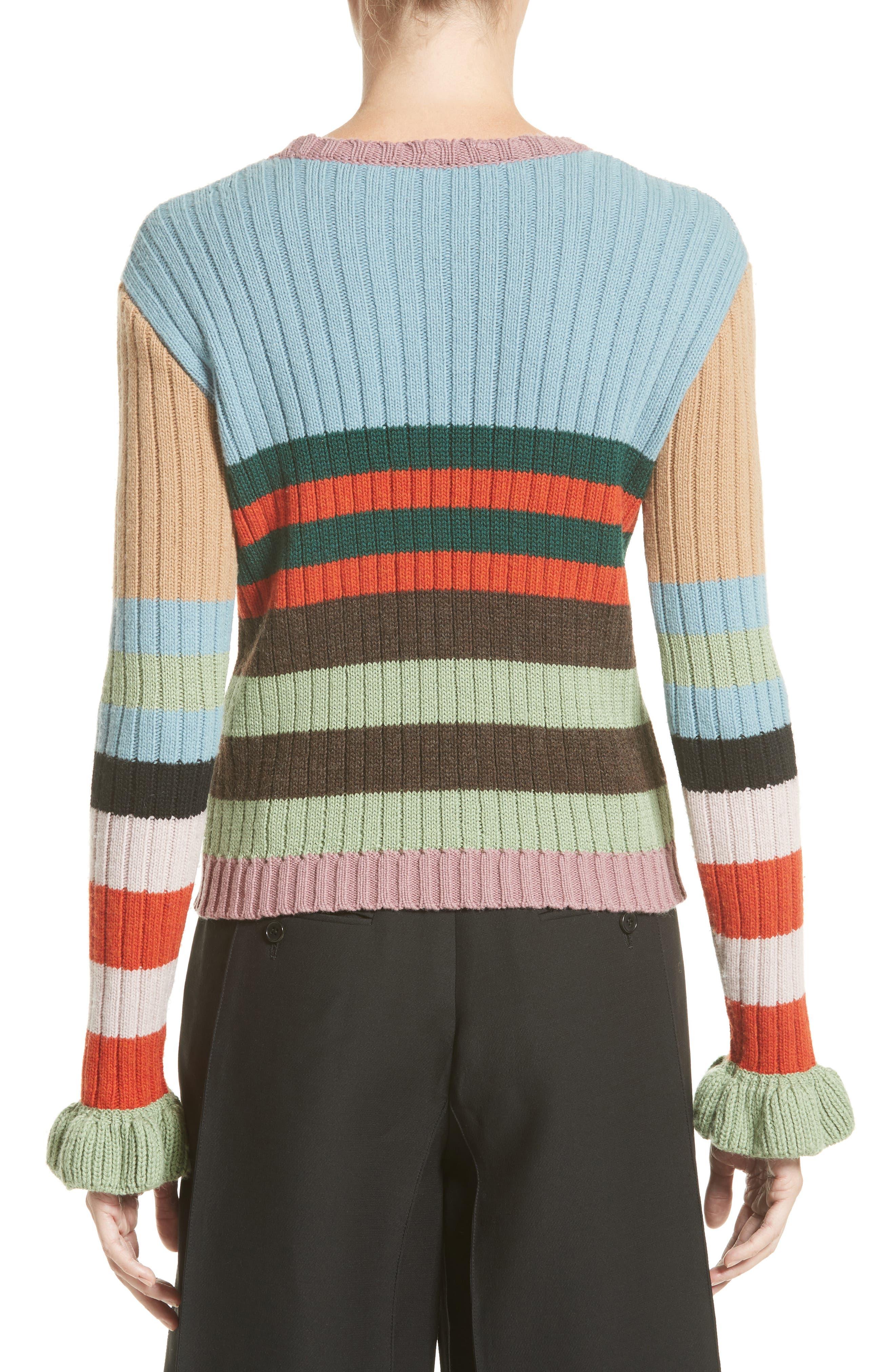 Stripe Wool Sweater,                             Alternate thumbnail 2, color,                             020