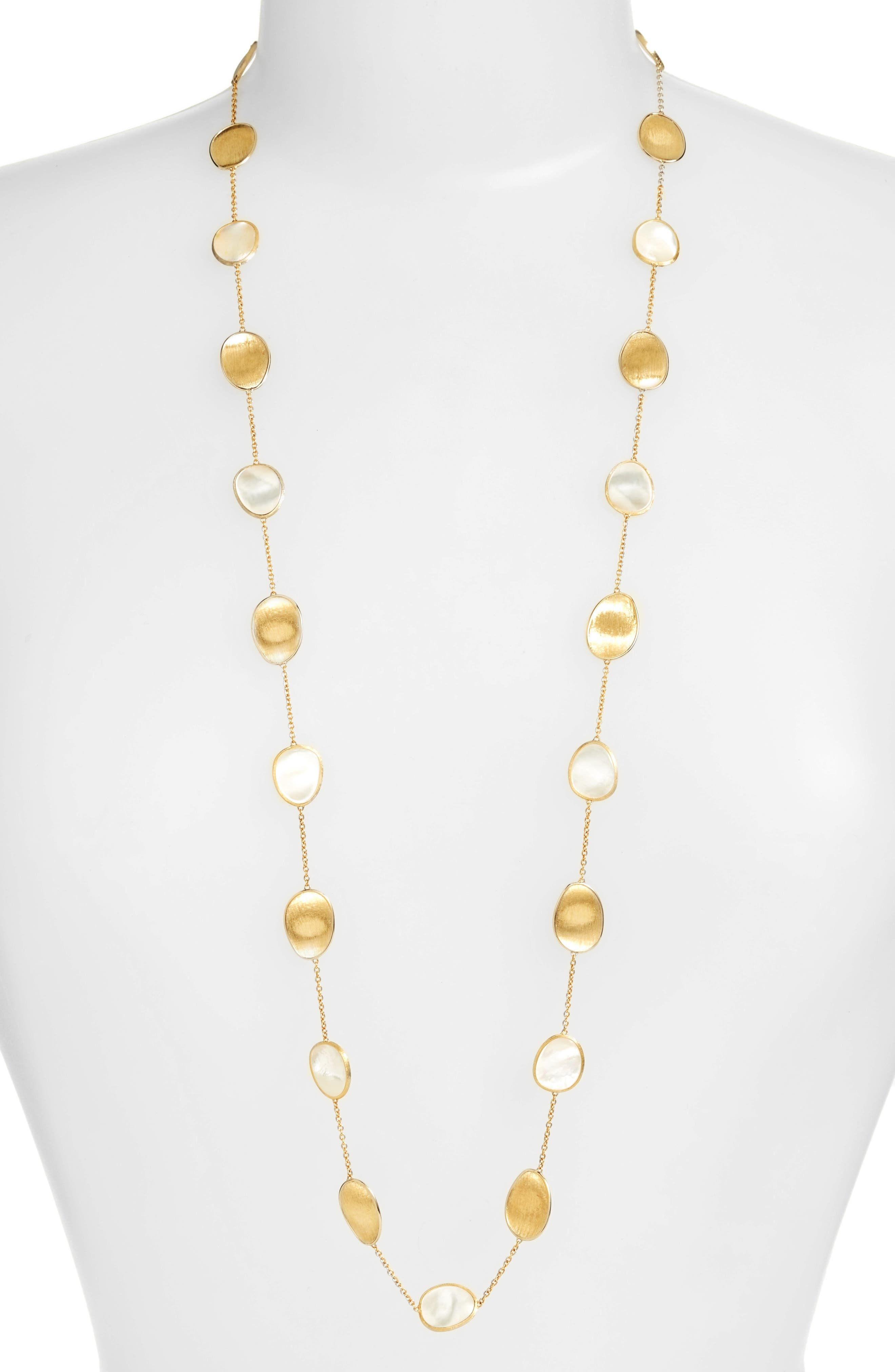Lunaria Mother of Pearl Long Strand Necklace,                             Main thumbnail 1, color,                             WHITE MOTHER OF PEARL
