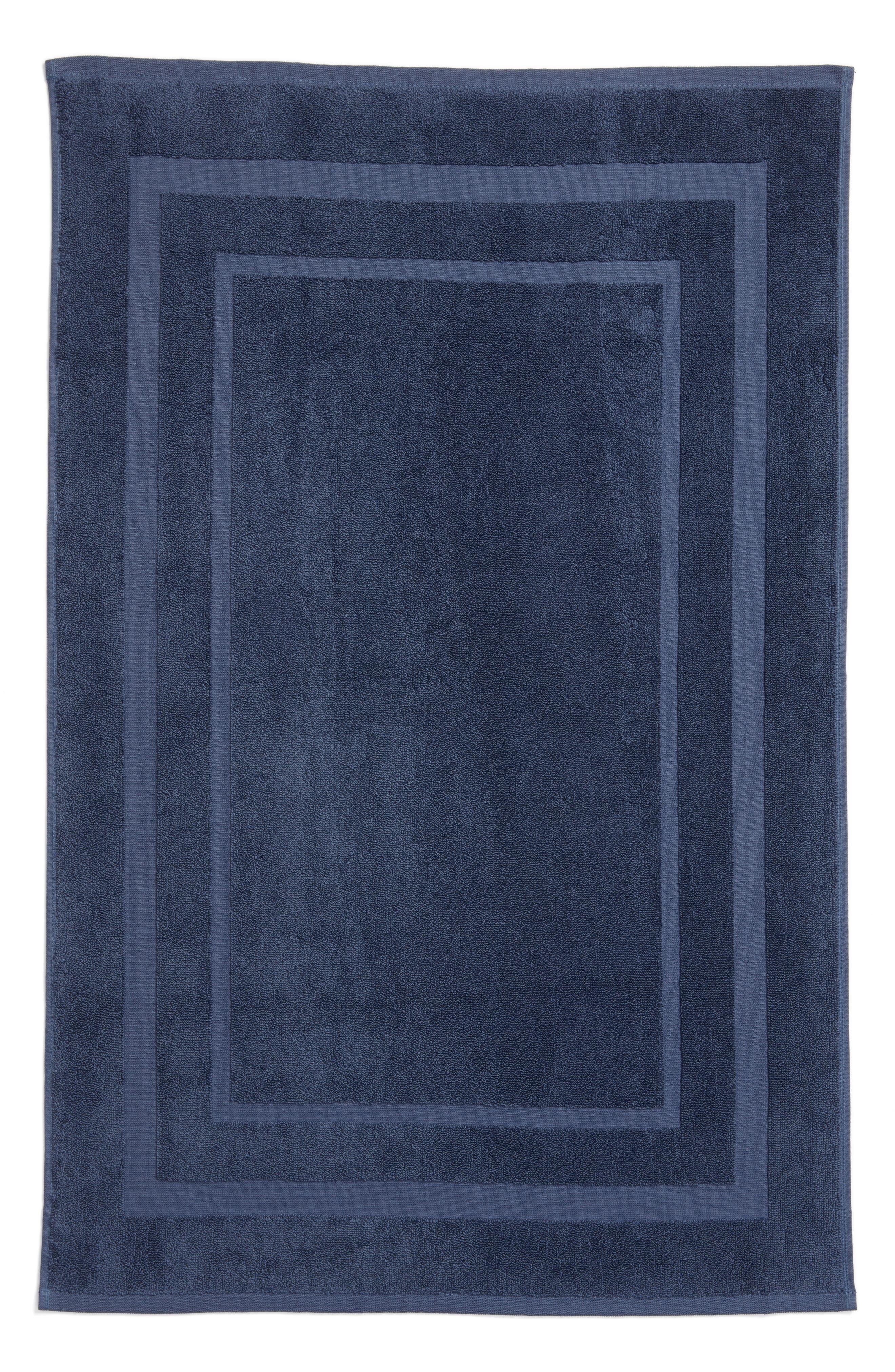 Studio 'Perennial' Turkish Cotton Bath Mat,                             Main thumbnail 1, color,                             INDIGO BLUE