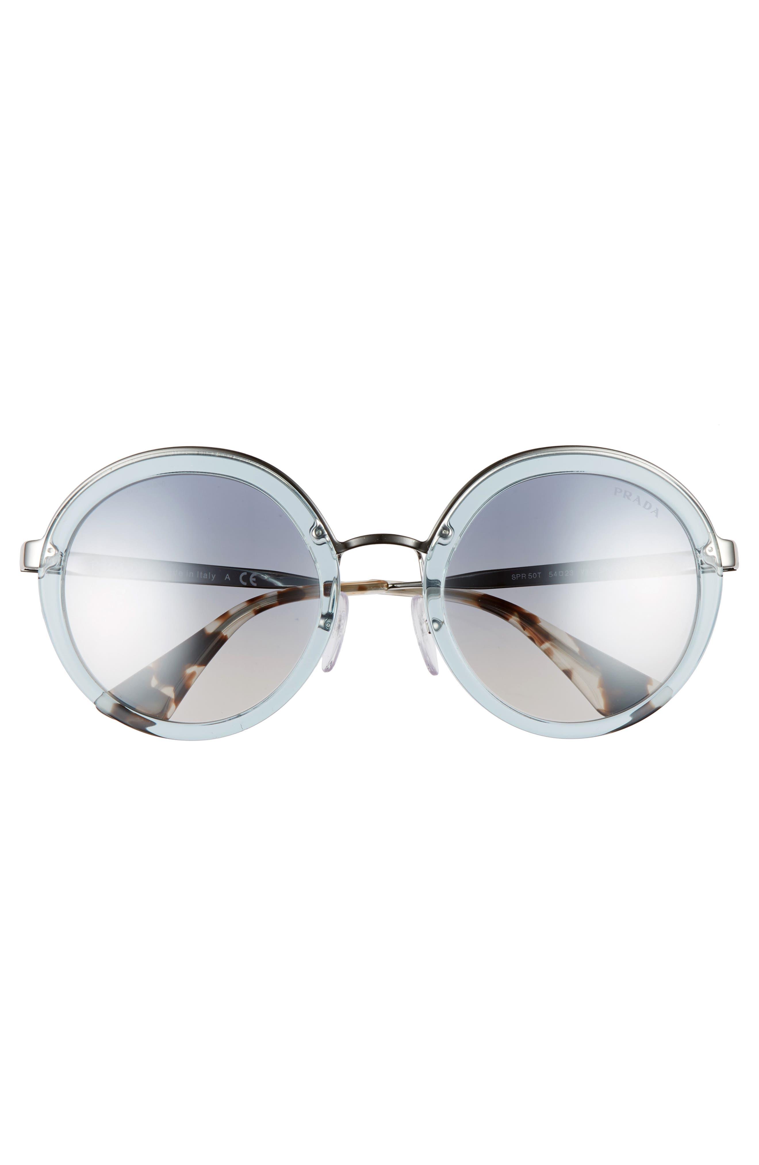 PRADA,                             54mm Round Sunglasses,                             Alternate thumbnail 3, color,                             400