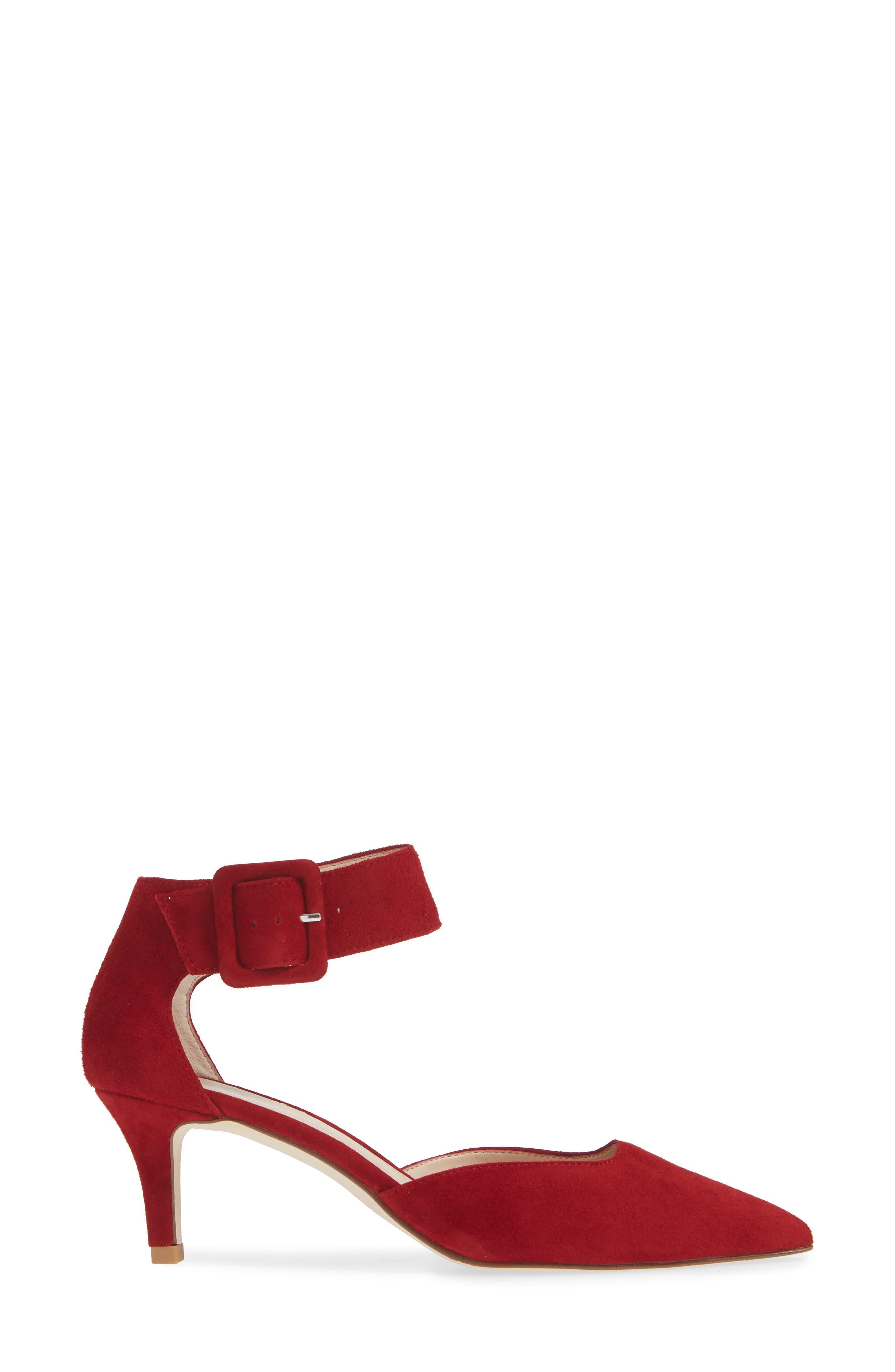 Kenley Ankle Strap Pump,                             Alternate thumbnail 3, color,                             SCARLET SUEDE