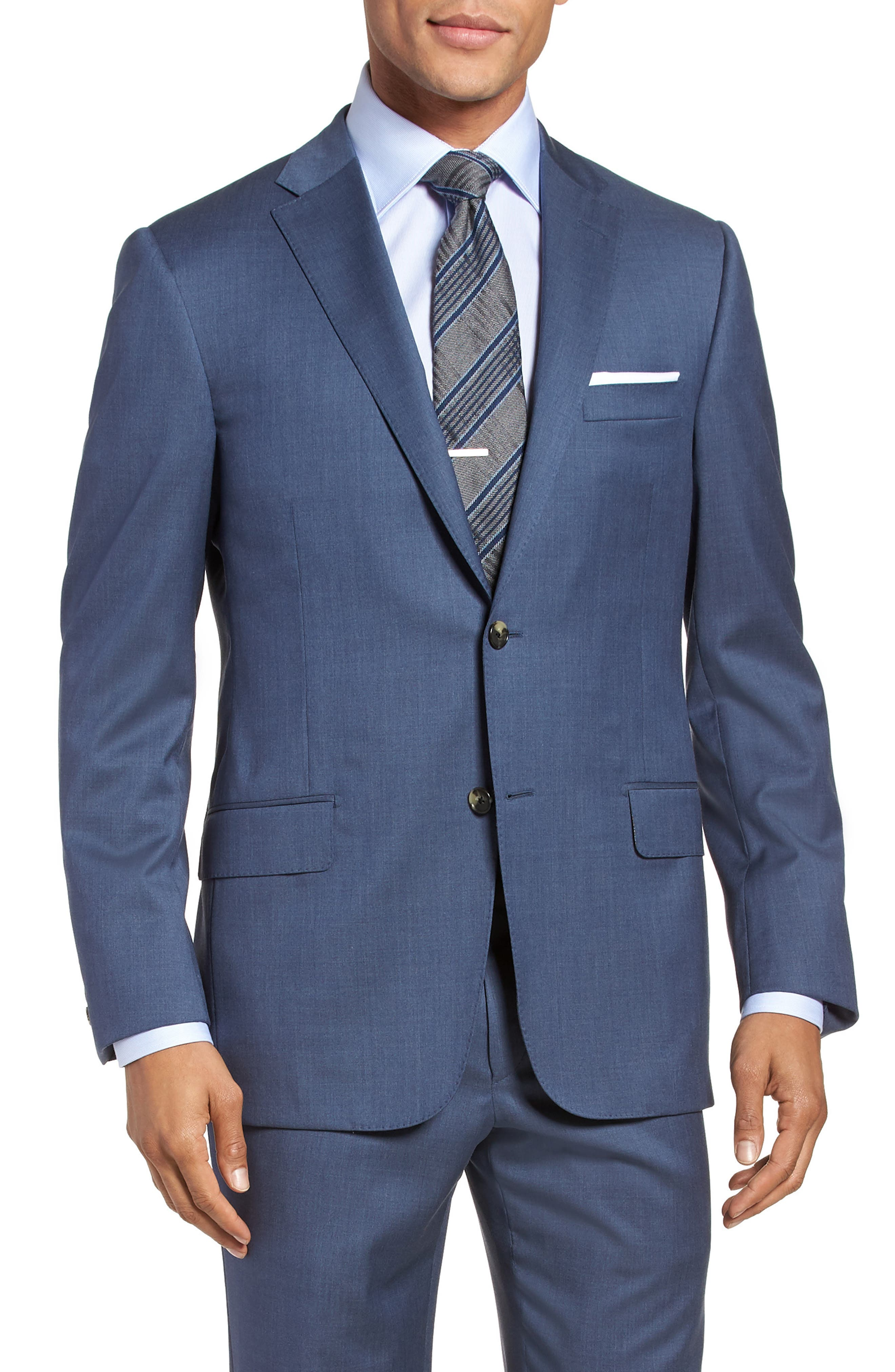 Classic B Fit Solid Wool Suit,                             Alternate thumbnail 5, color,                             499