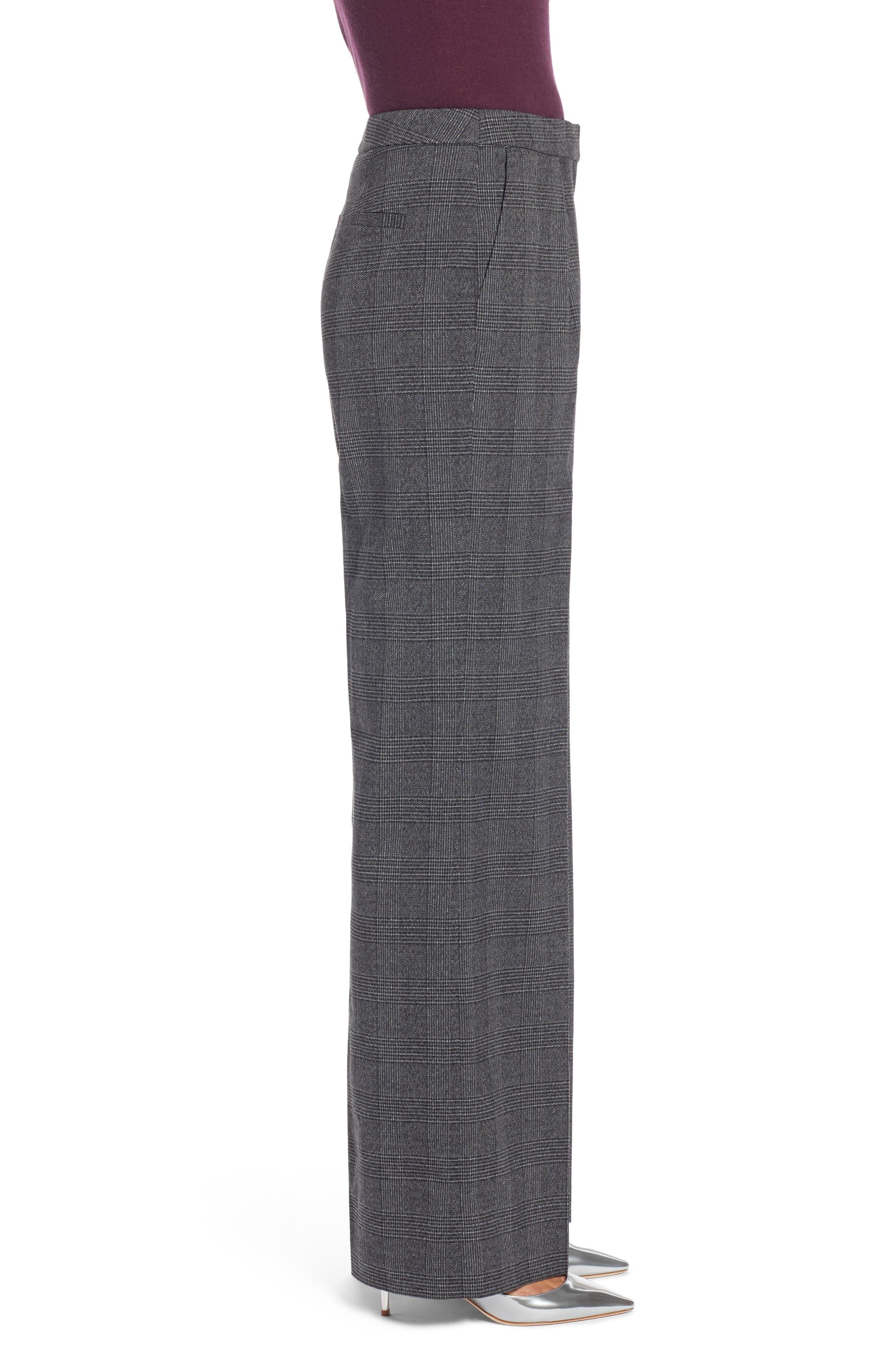 Plaid High Waist Wide Leg Pants,                             Alternate thumbnail 3, color,                             030