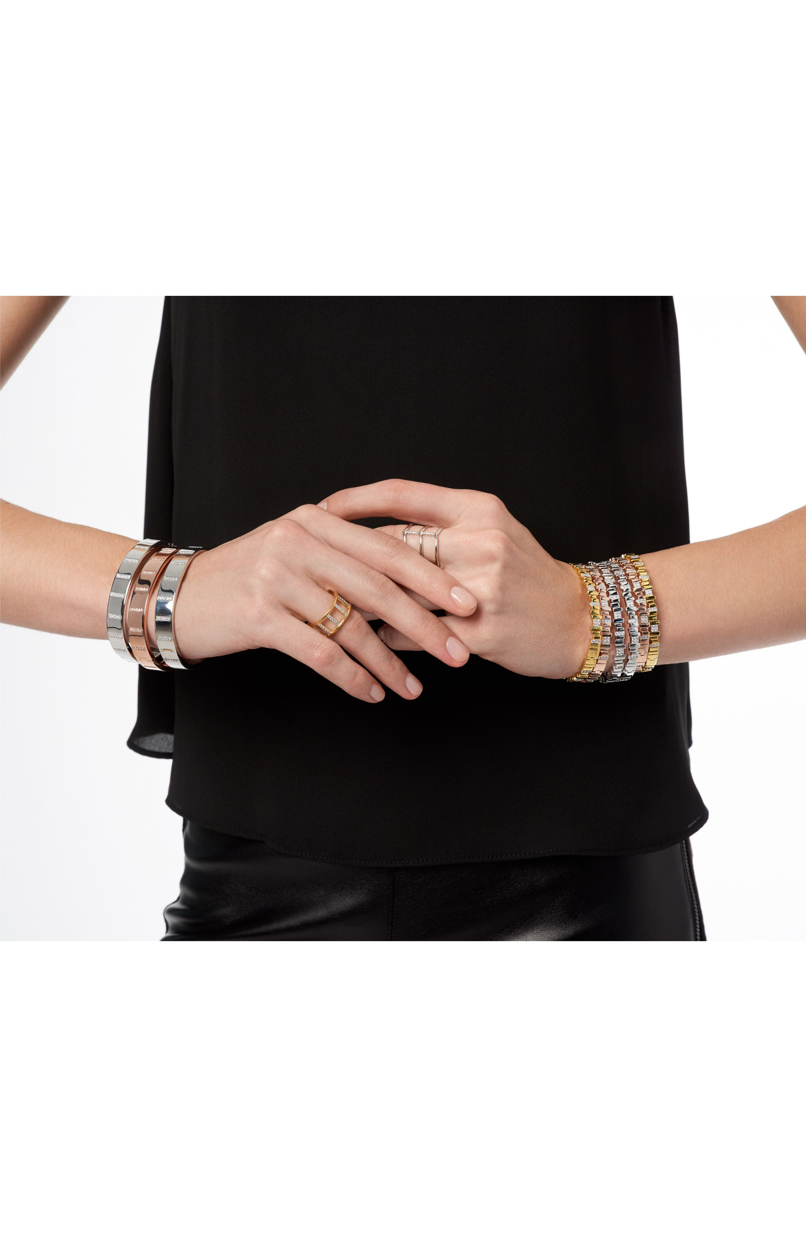 Radiance Cubic Zirconia Bangle,                             Alternate thumbnail 3, color,                             SILVER
